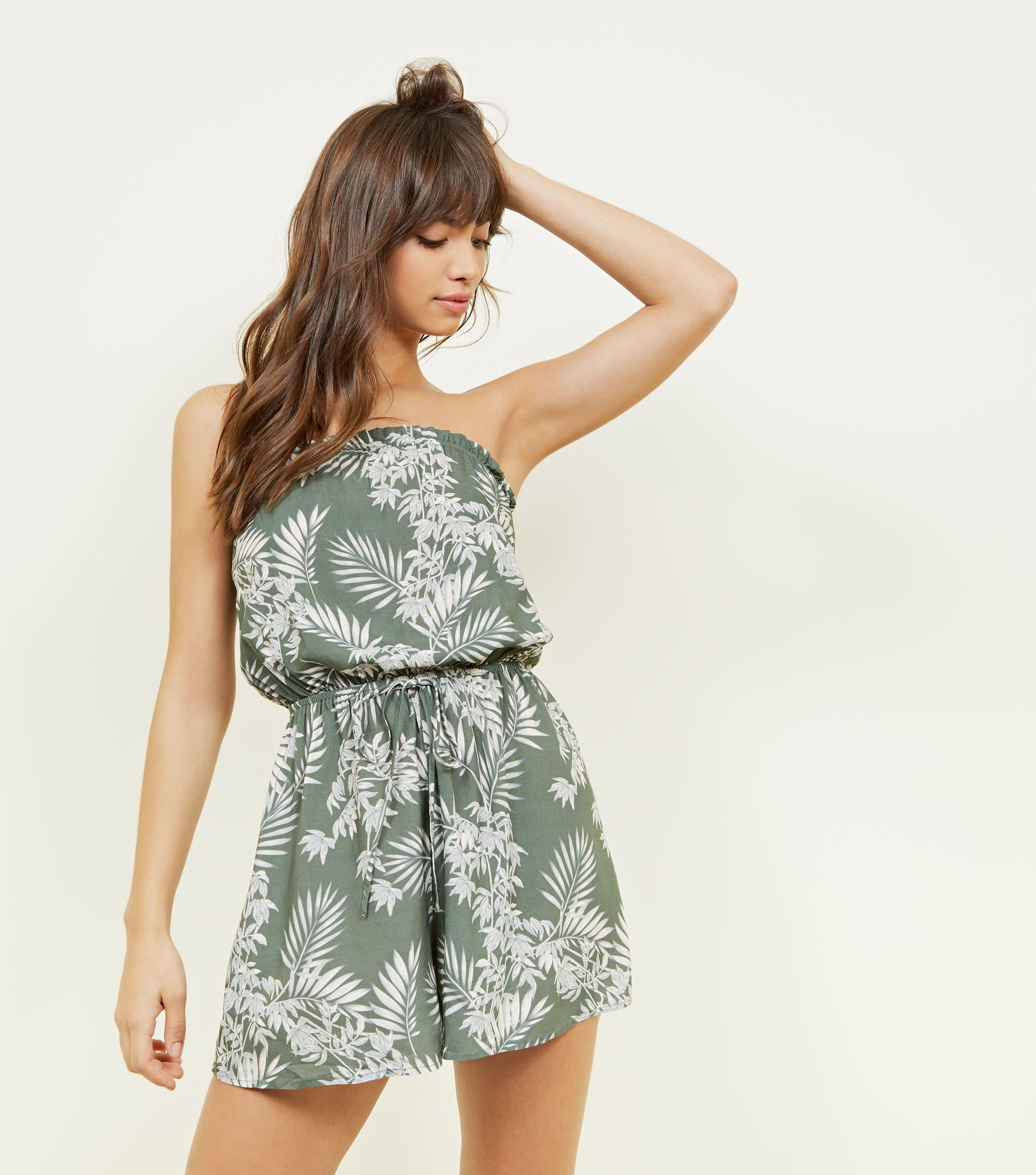 715eb33657c5 New Look Green Tropical Leaf Print Bandeau Playsuit in Green - Lyst