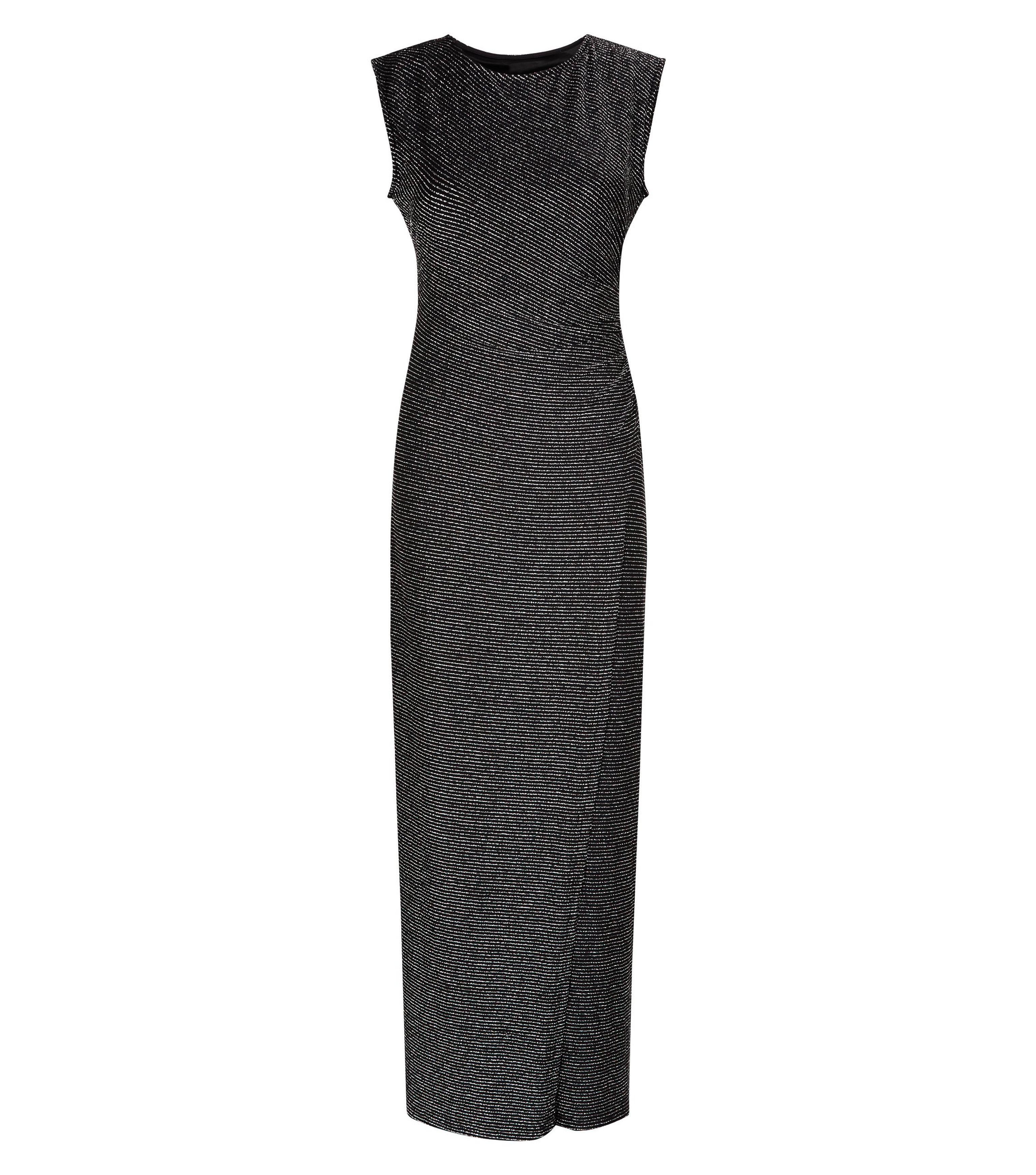 c36723adfa3b Mela Black Metallic Ruched Side Maxi Dress in Black - Lyst