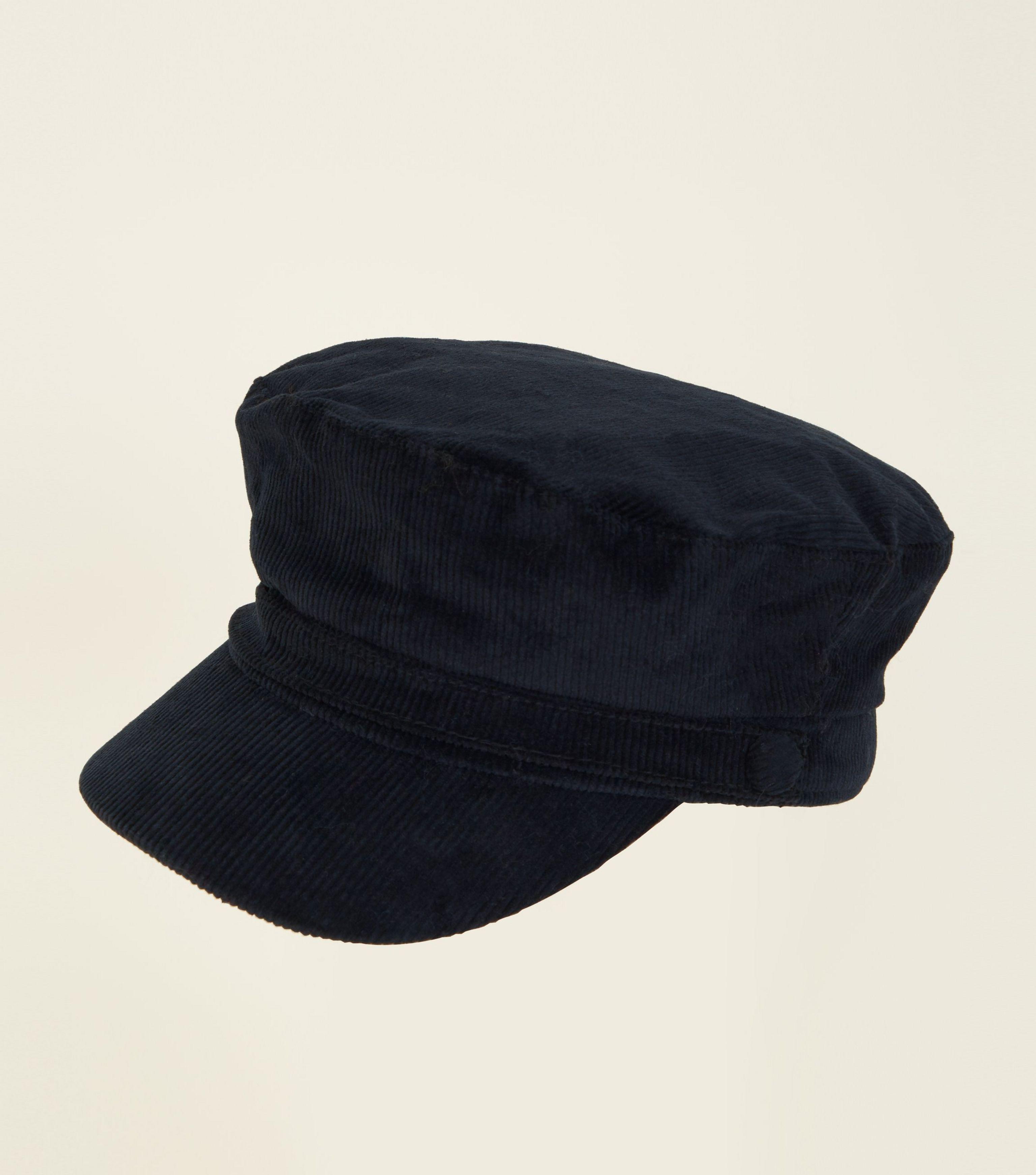 3bec70bfcd7 New Look Black Corduroy Military Baker Boy Cap in Black - Lyst