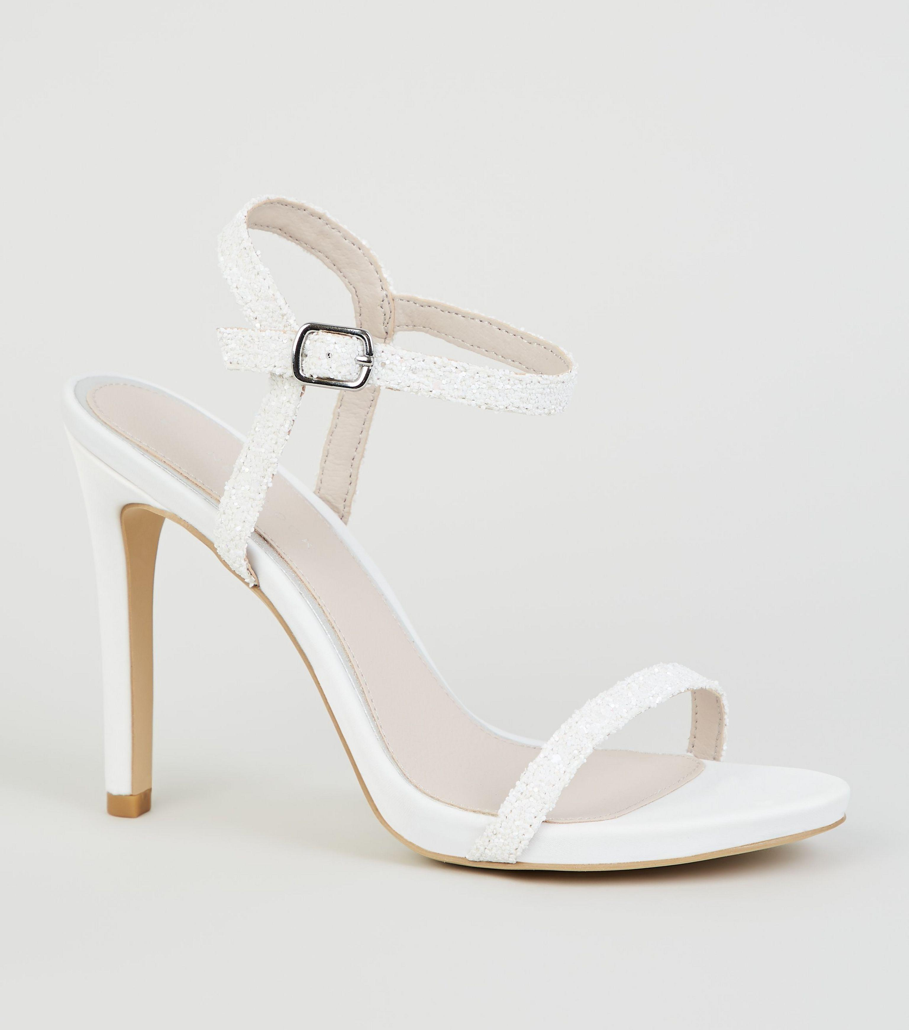 d7549fdc336 New Look White Glitter 2 Part Stiletto Heels in White - Lyst