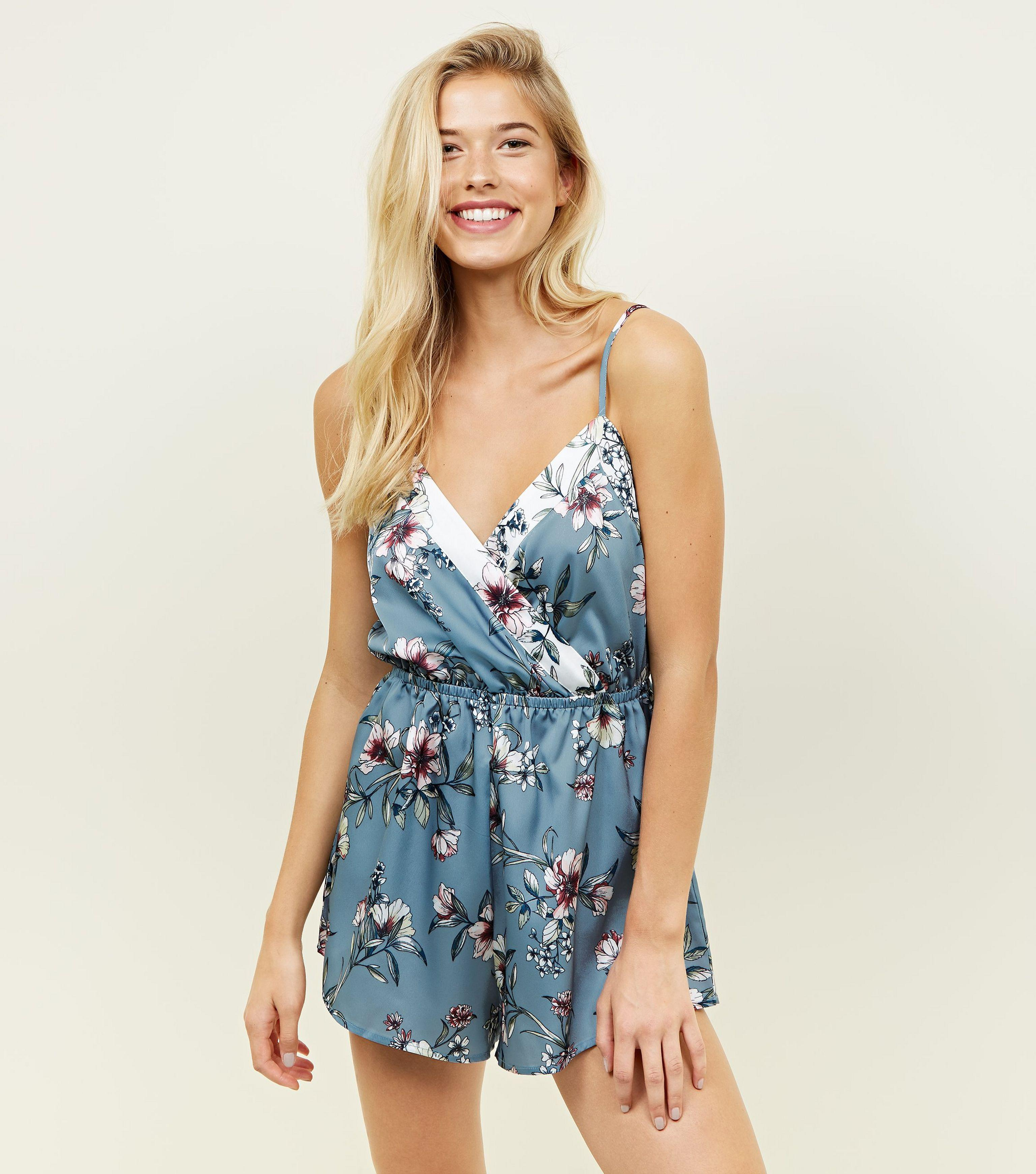 f93a397789 New Look Nicola Blue Floral Satin Pyjama Playsuit in Blue - Lyst