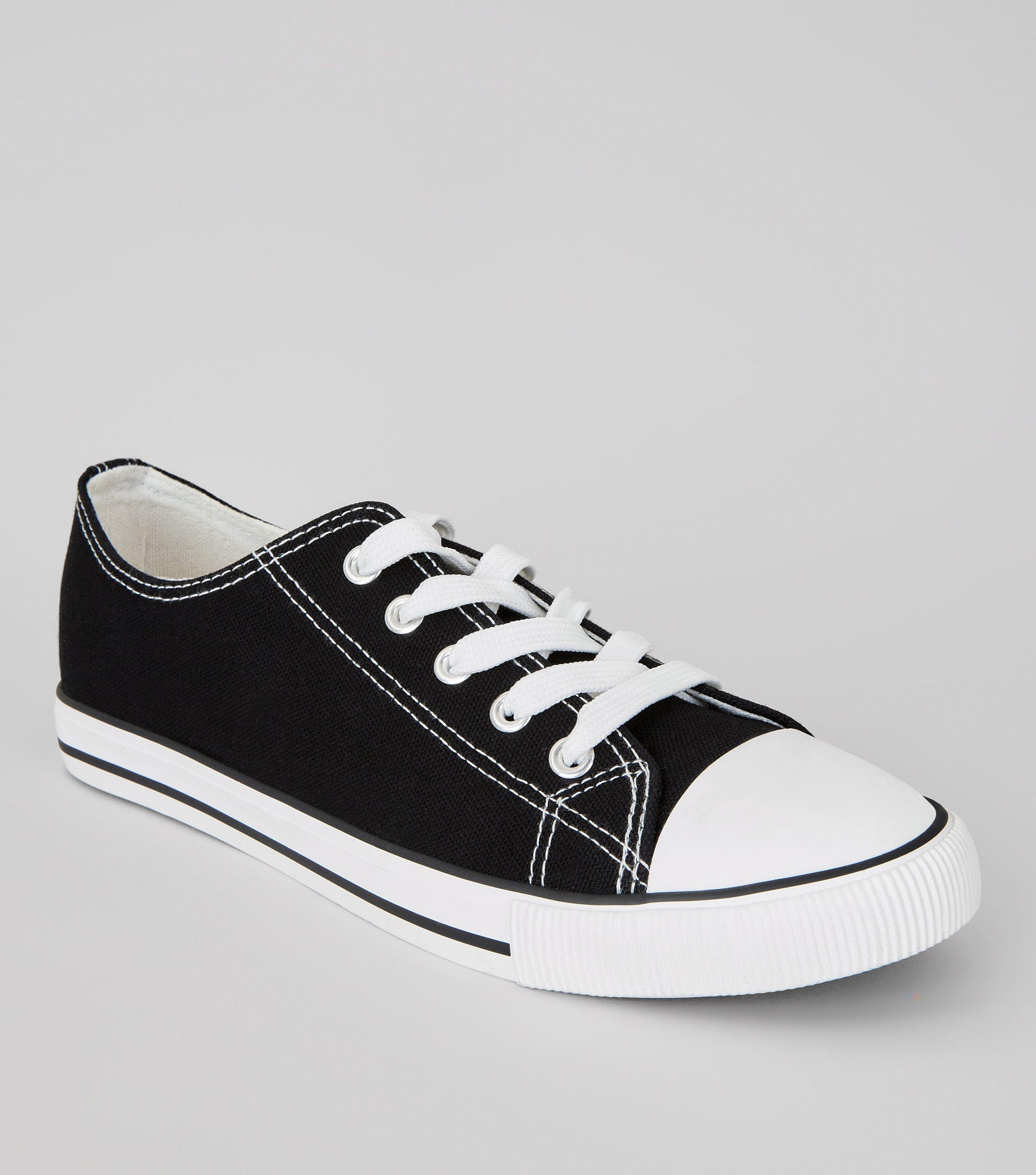 0f7cbd4e60a5 New Look Black Canvas Stripe Sole Trainers in Black - Lyst