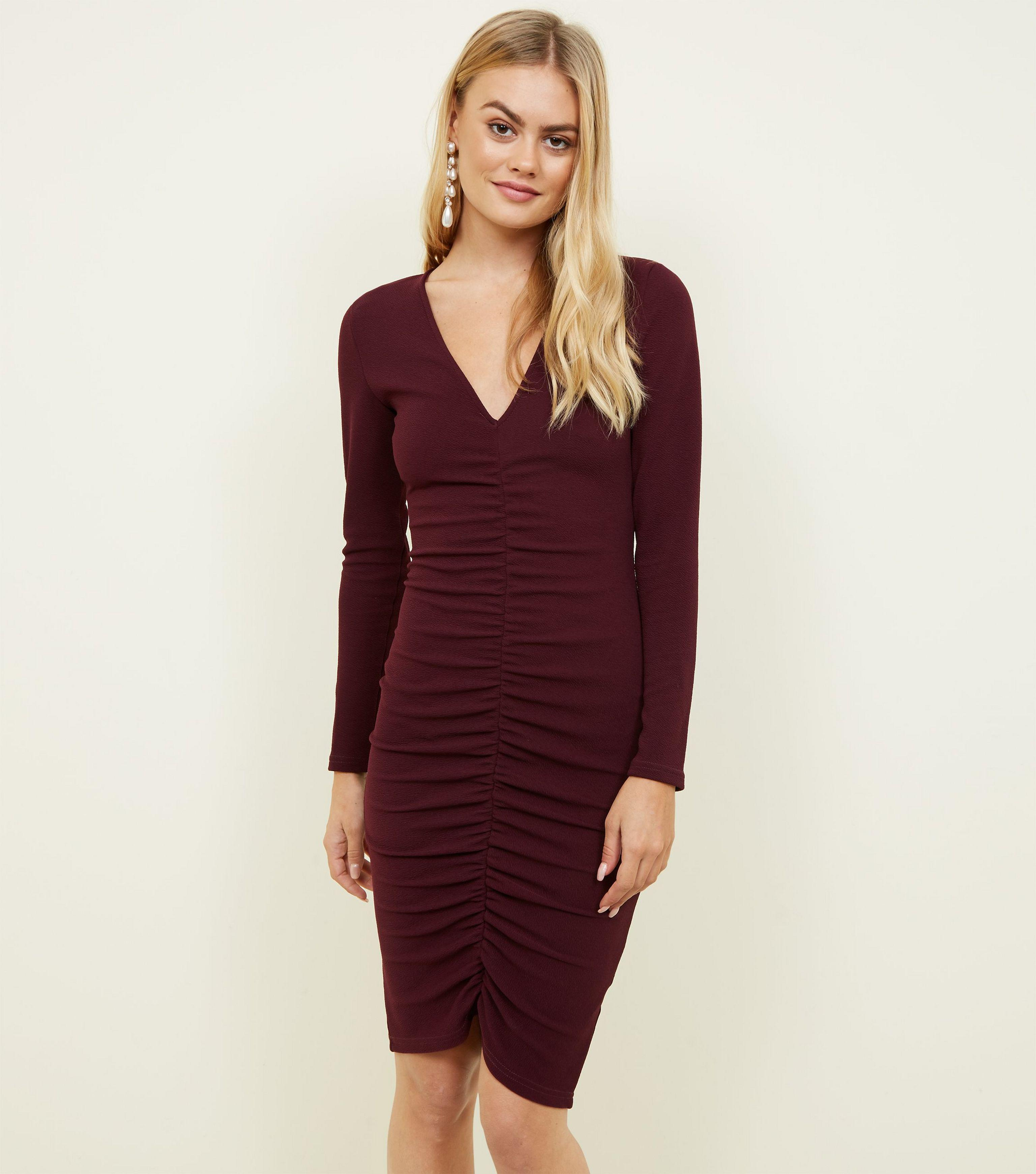 de56860651 AX Paris Burgundy Ruched Front Bodycon Dress in Red - Lyst