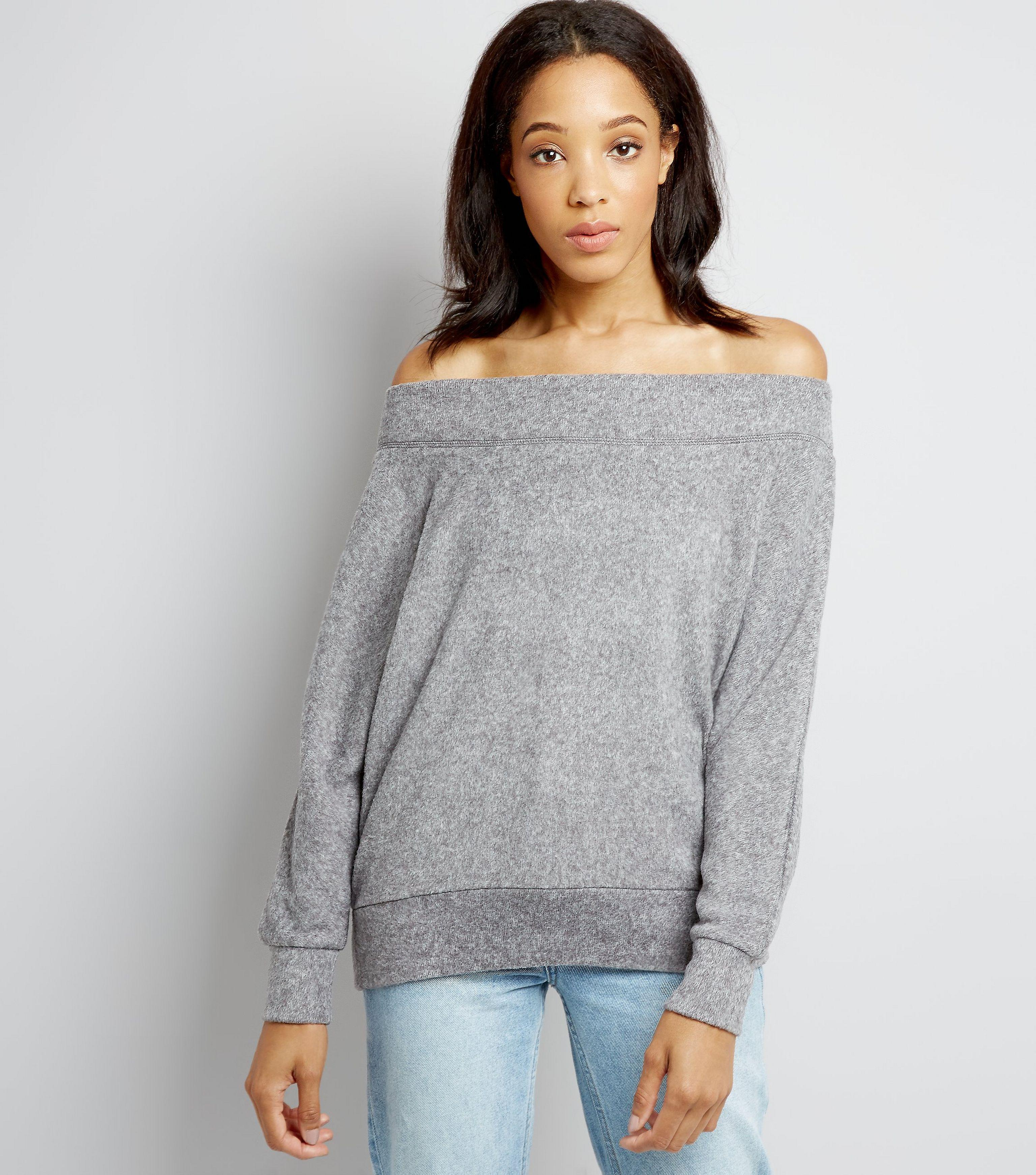 great discount for aesthetic appearance promotion New Look Denim Grey Bardot Neck Jumper in Gray - Lyst