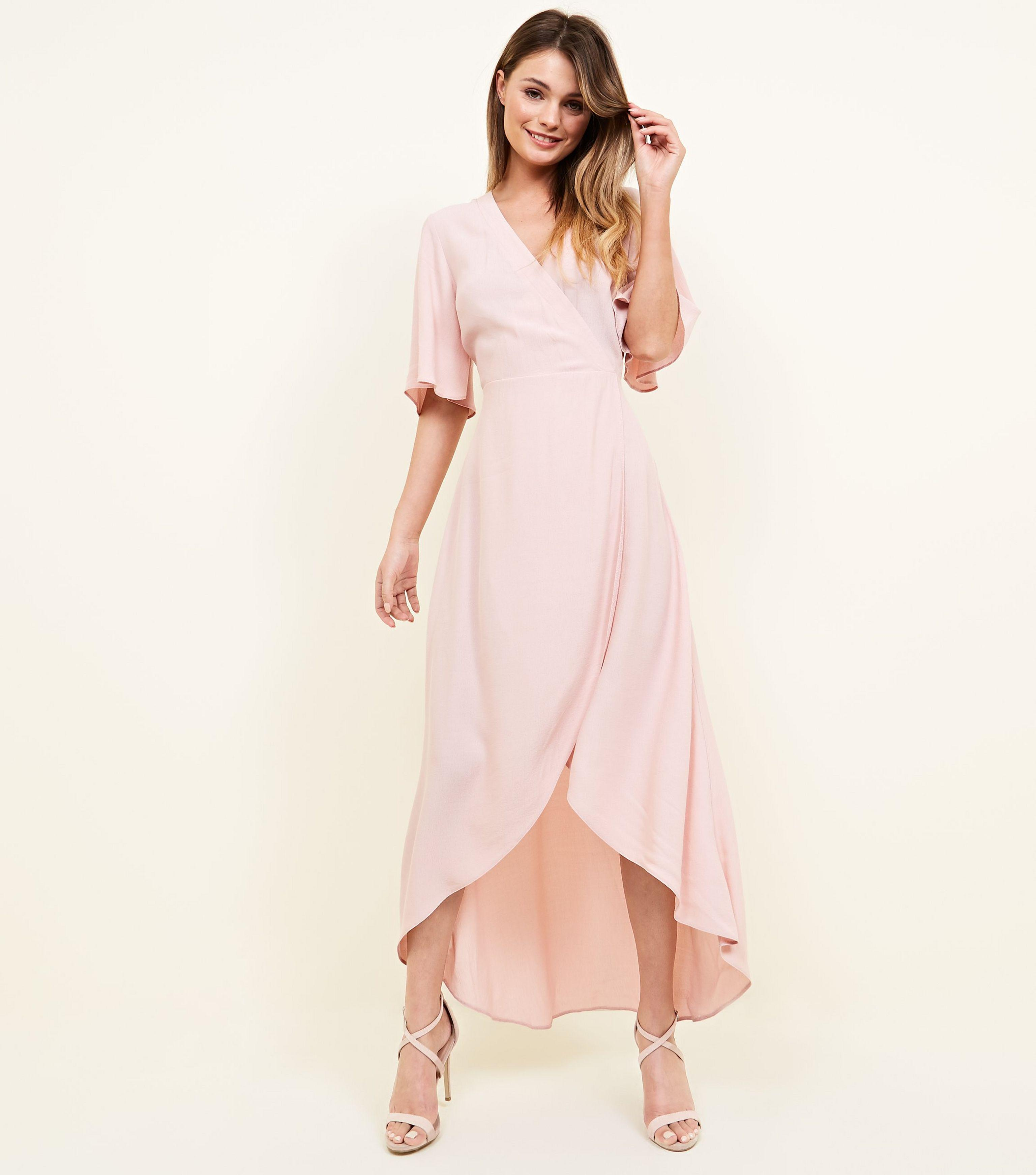 782c4052d2d New Look Pale Pink Wrap Front Dip Hem Maxi Dress in Pink - Lyst
