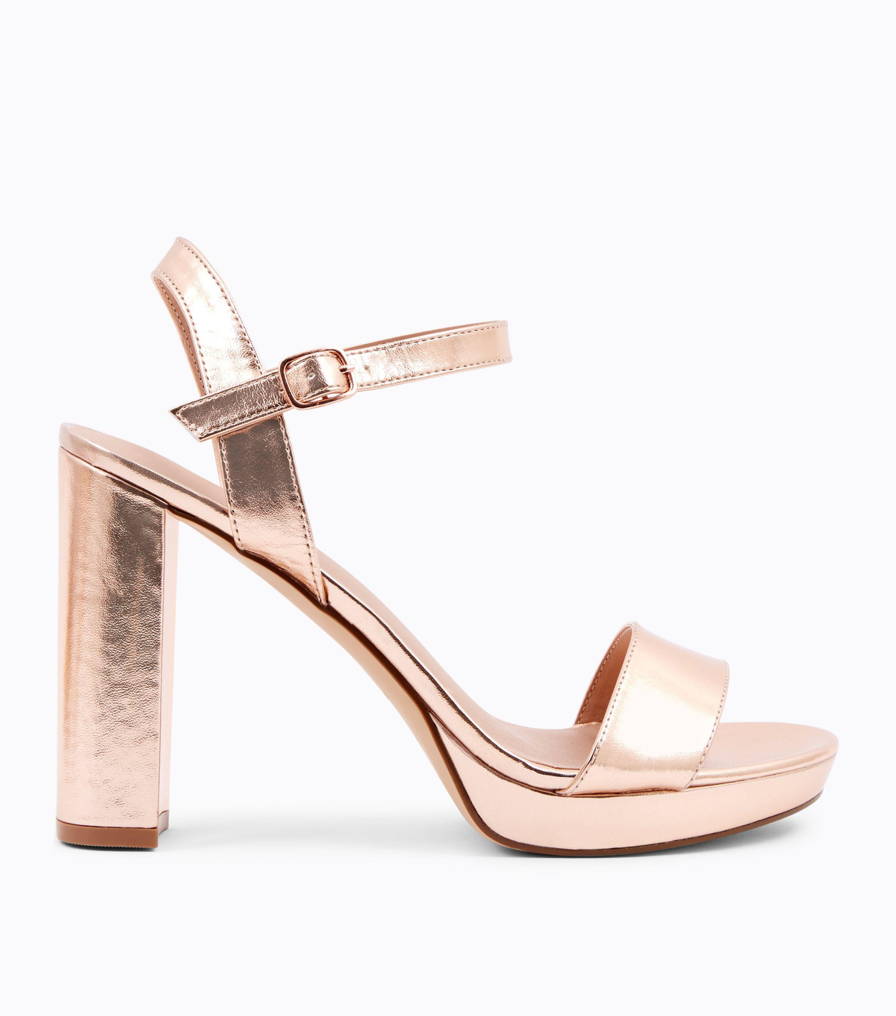 07c17ed4a1a9 New Look Rose Gold Metallic Block Heel Platform Sandals in Pink - Lyst