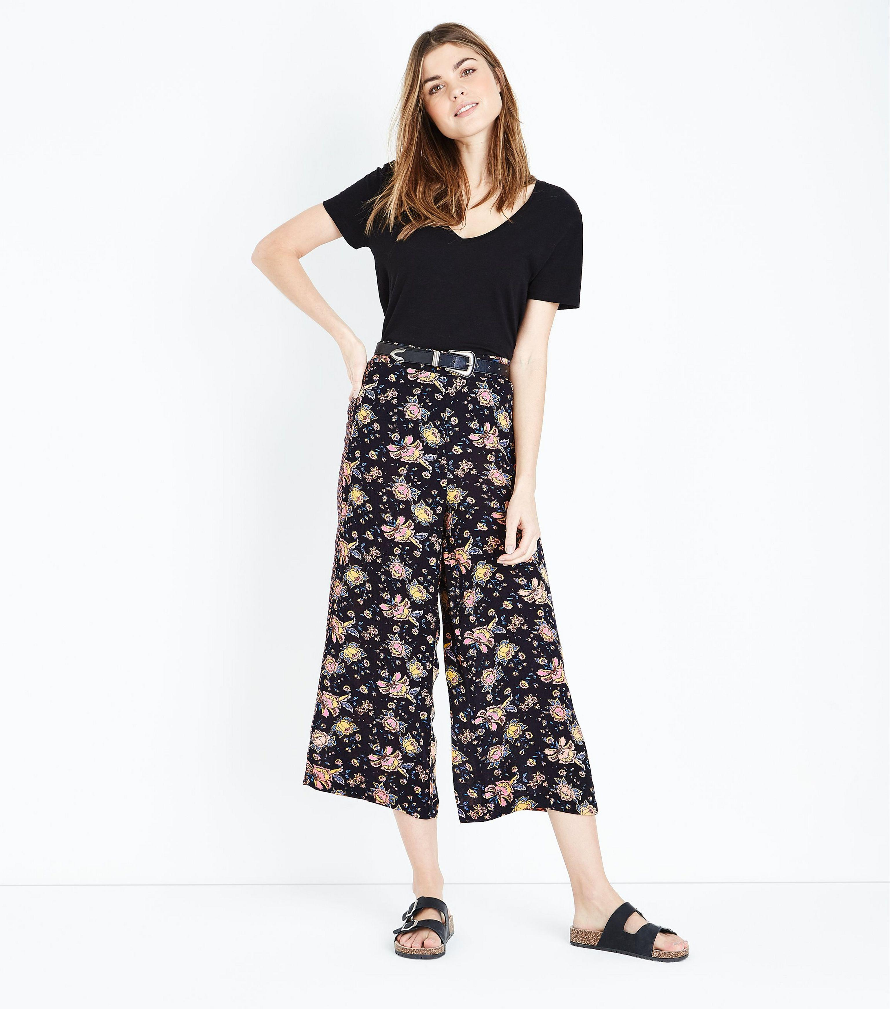 Rib Split Side Wide Leg Trouser - Black New Look dZ9f1URVha