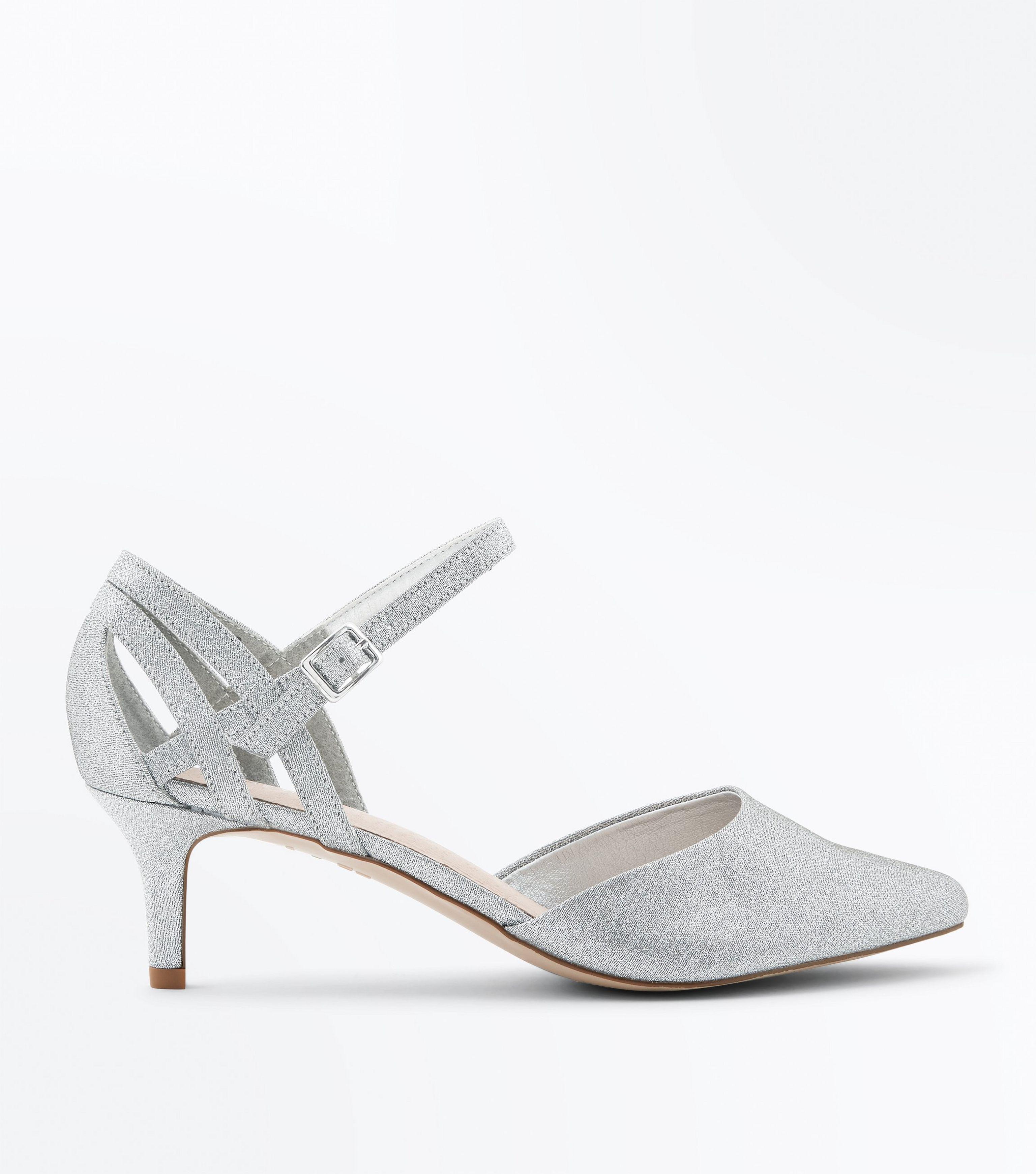 silver wide fit kitten heels good 177a8
