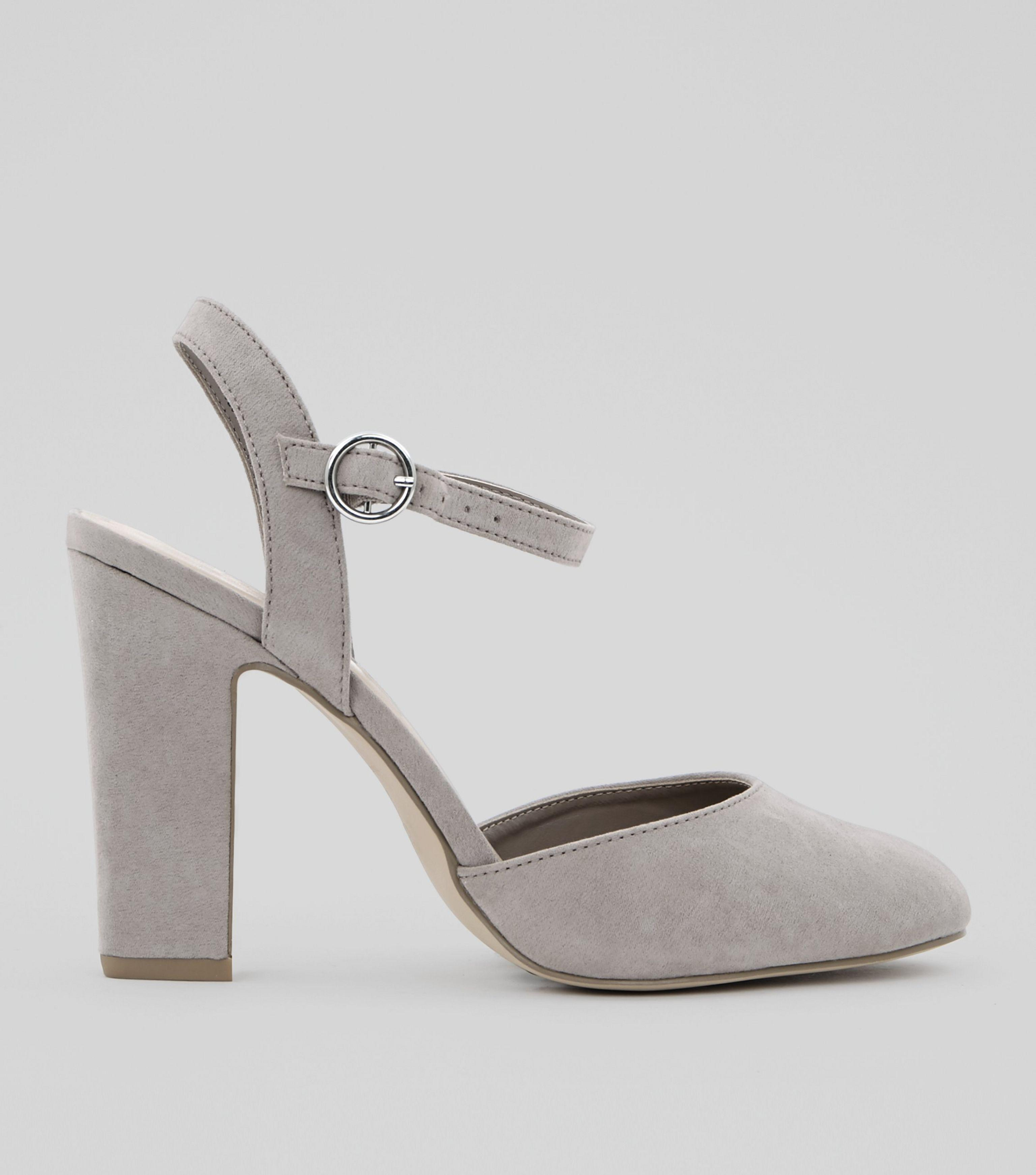 285aea47fc5f02 New look Wide Fit Grey Suedette Circle Buckle Court Shoes .