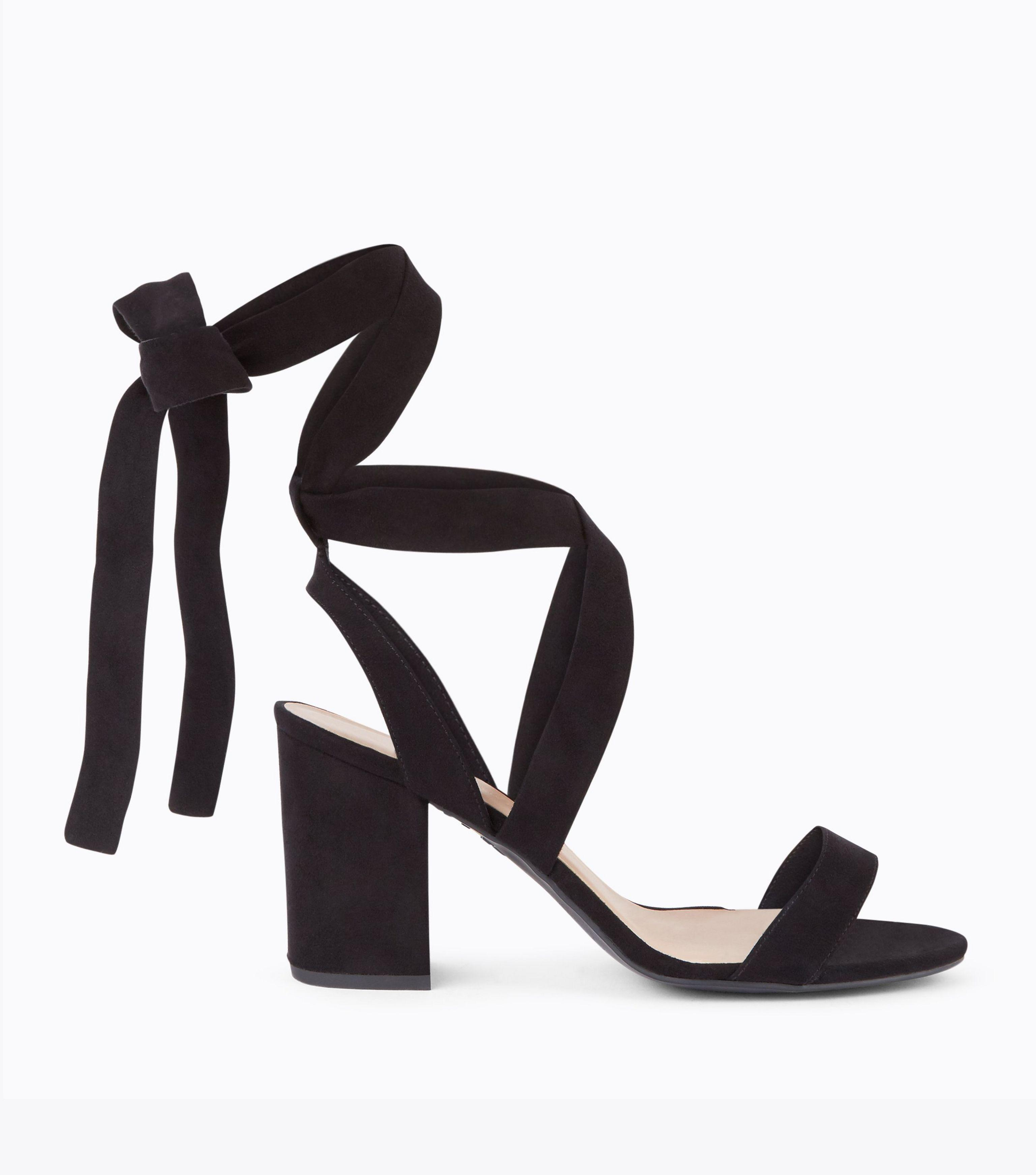 1f65f9aa576f New Look Wide Fit Black Suedette Ankle Tie Heeled Sandals in Black ...