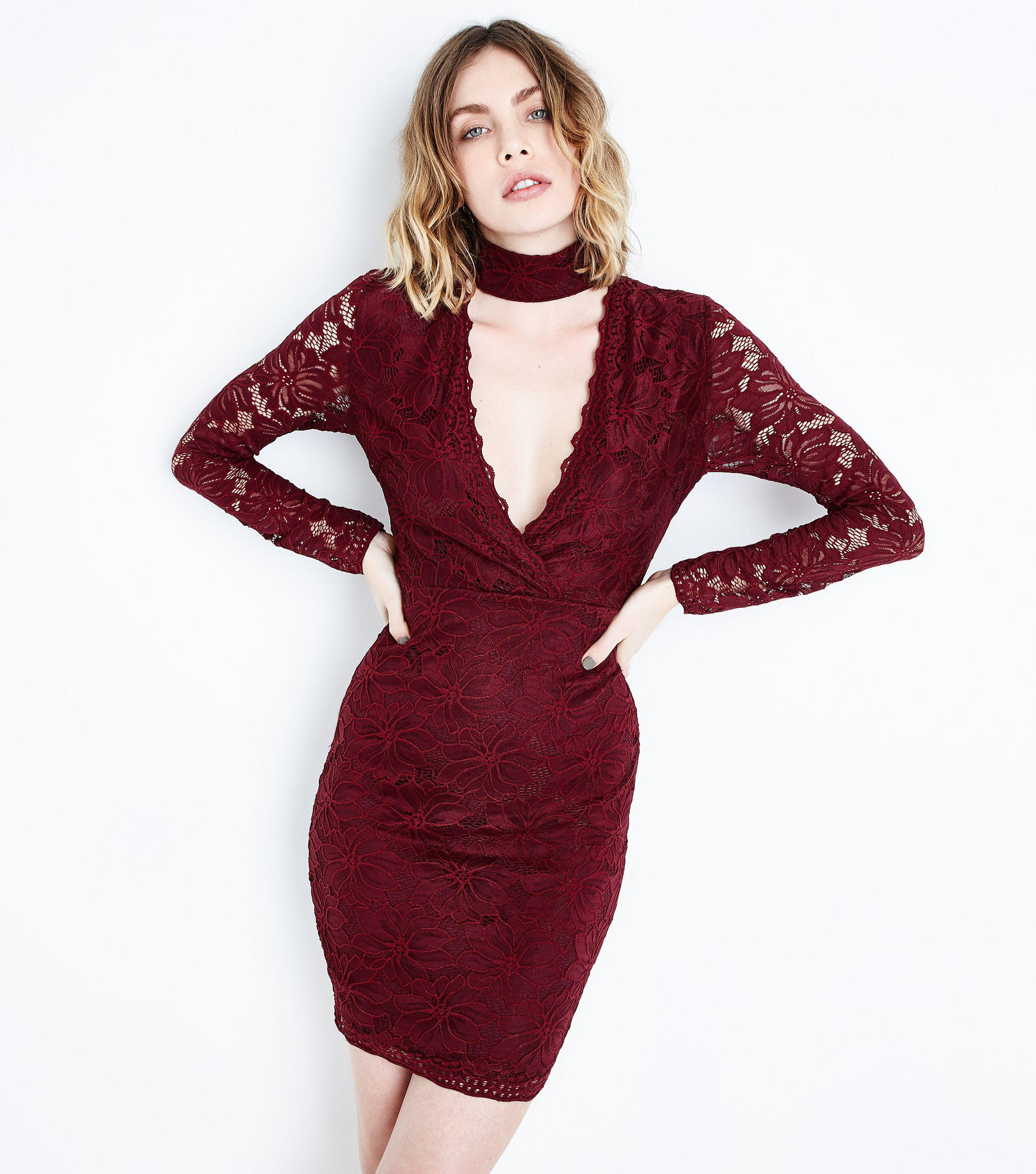 Burgundy Lace Choker Neck Dress