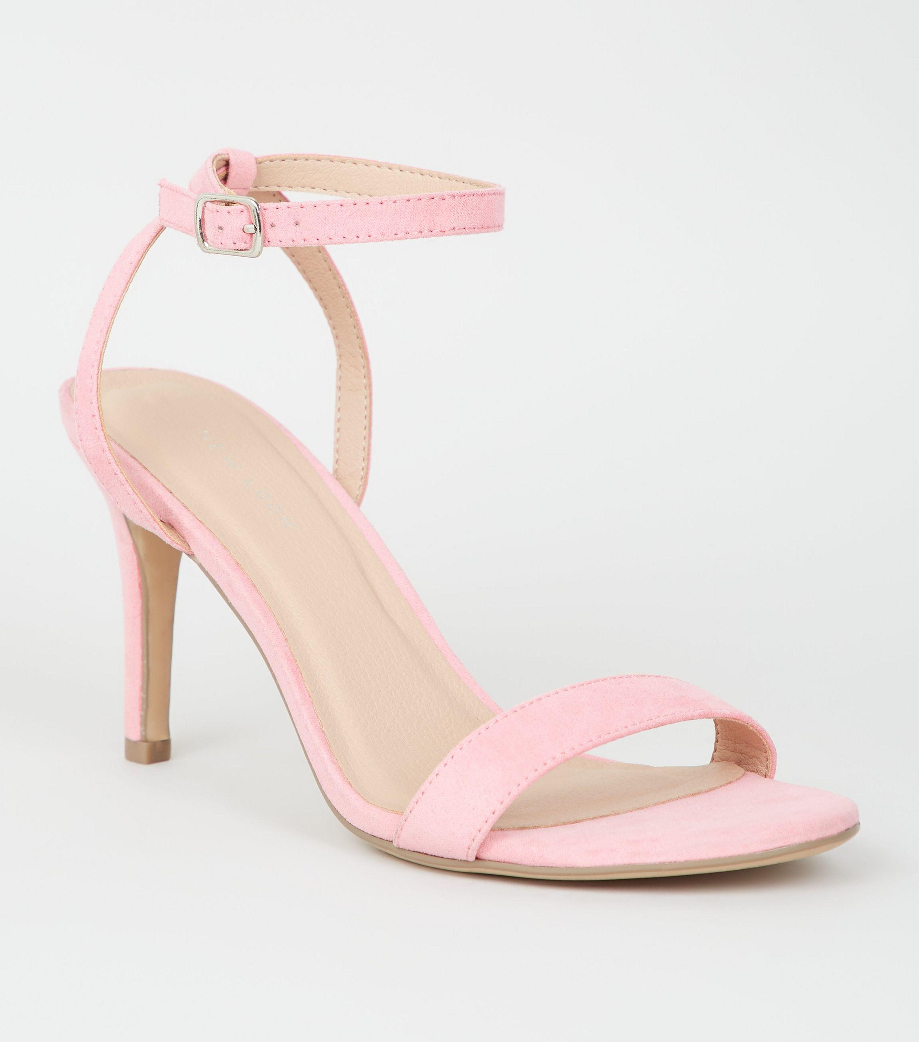 1df35d0a375 New Look Pale Pink Suedette Ankle Strap Stiletto Heels