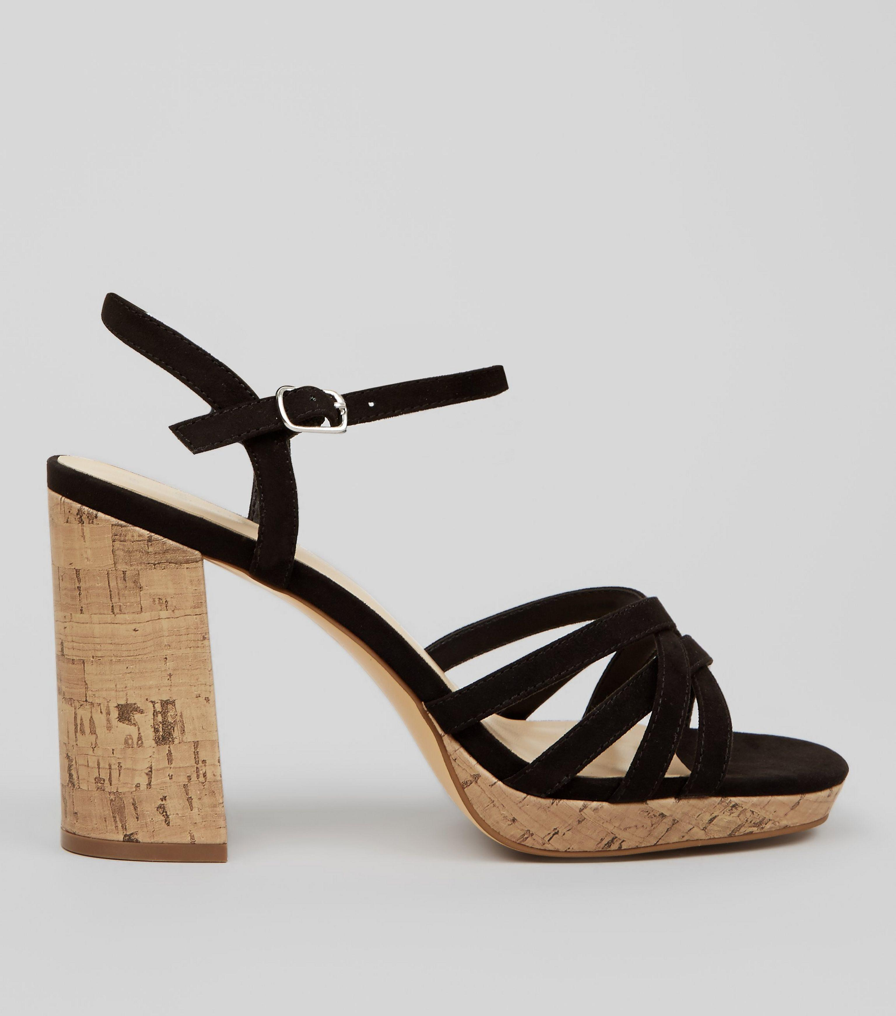 cbc888cd151 New Look Wide Fit Black Suedette Cork Strappy Sandals in Black - Lyst