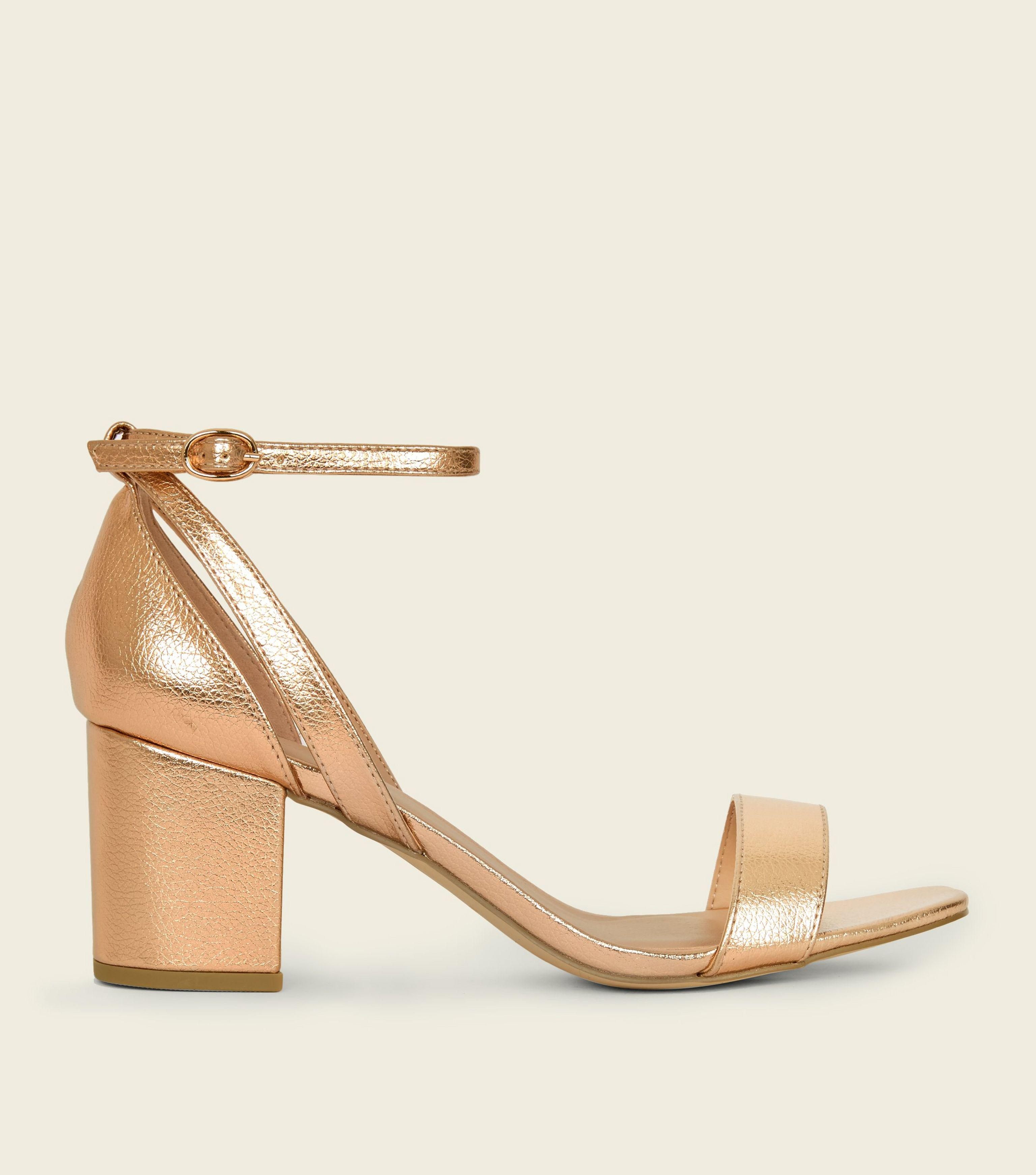 catch new high quality look out for Wide Fit Rose Gold Cut Out Mid Heel Sandals