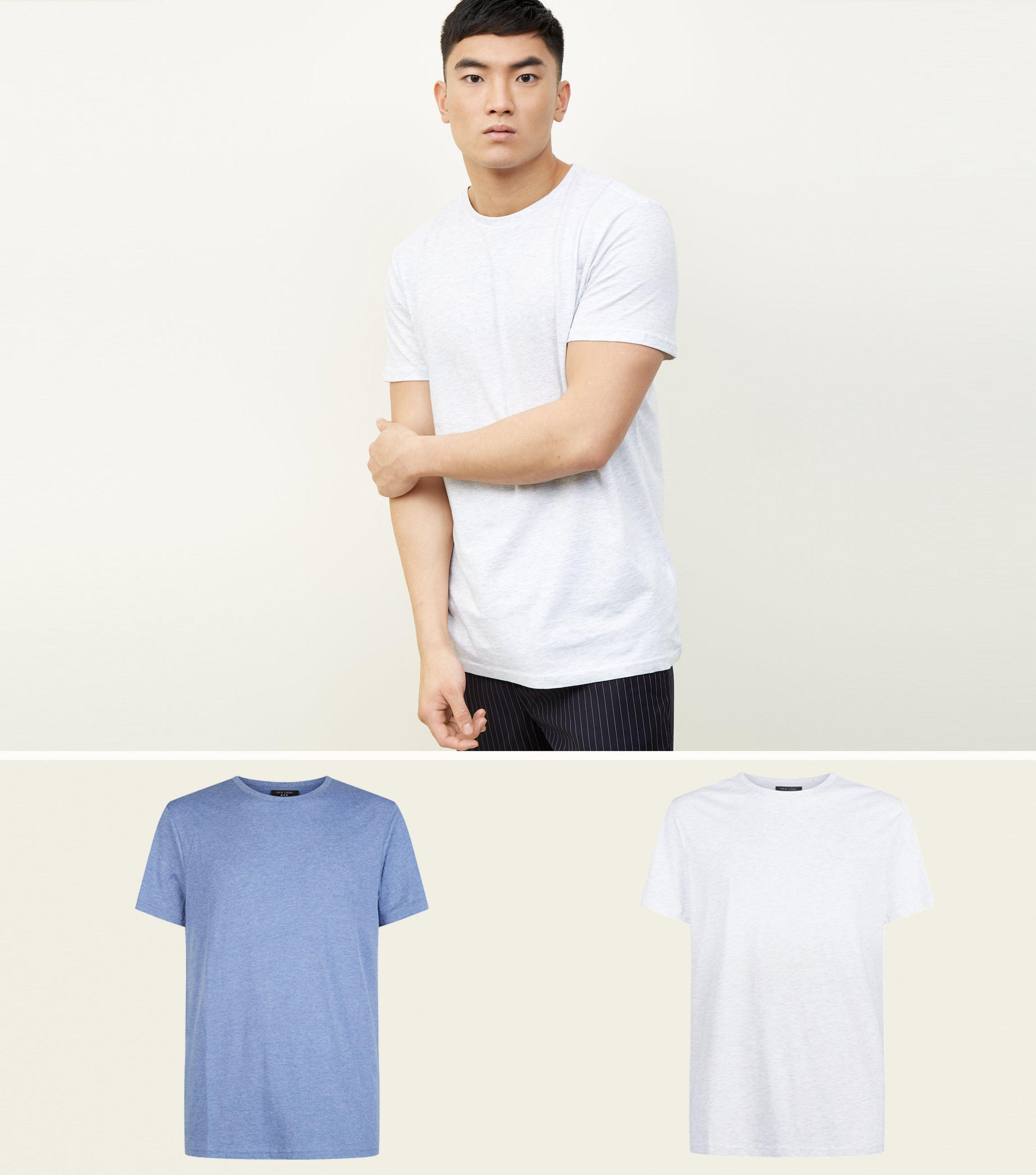 New Look 2 Pack Bright Blue And White Marl T-shirts in Blue for Men ... e18ae4a1a3