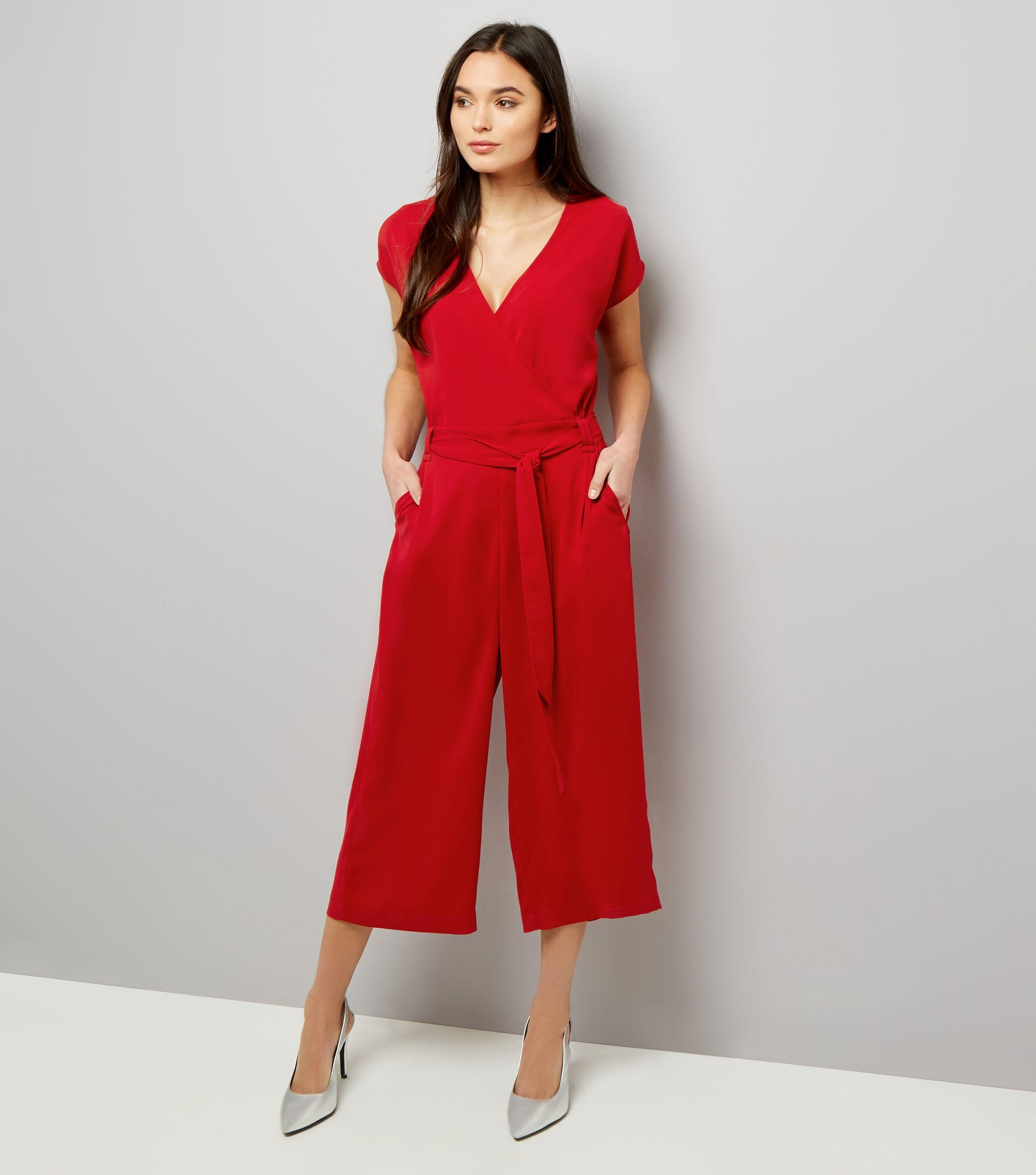 c9e5114e748d New Look Red Plissé Wrap Front Culotte Jumpsuit in Red - Lyst
