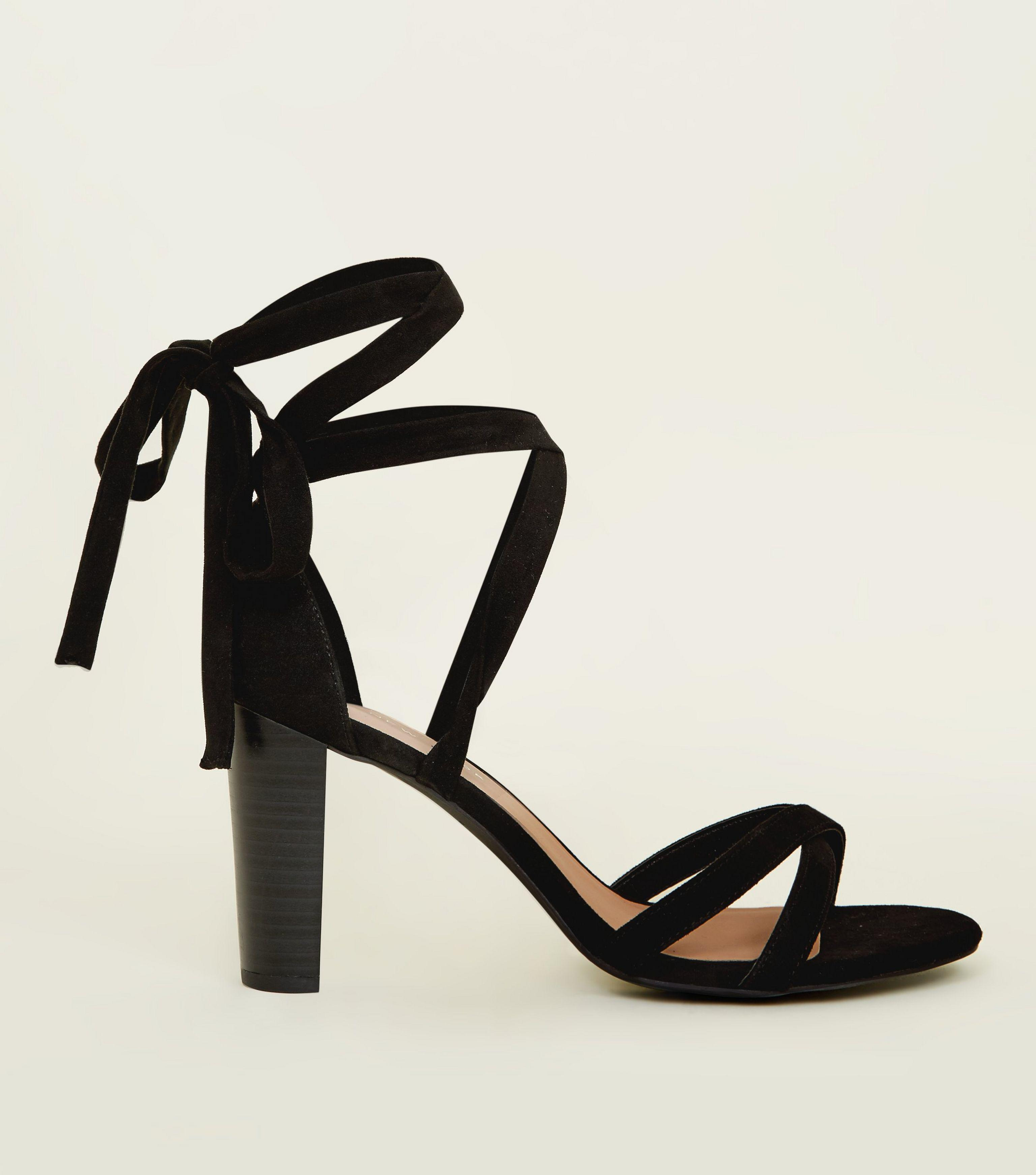 f1aa7a81e12 New Look Wide Fit Black Suedette Ankle Tie Wood Block Heels in Black ...