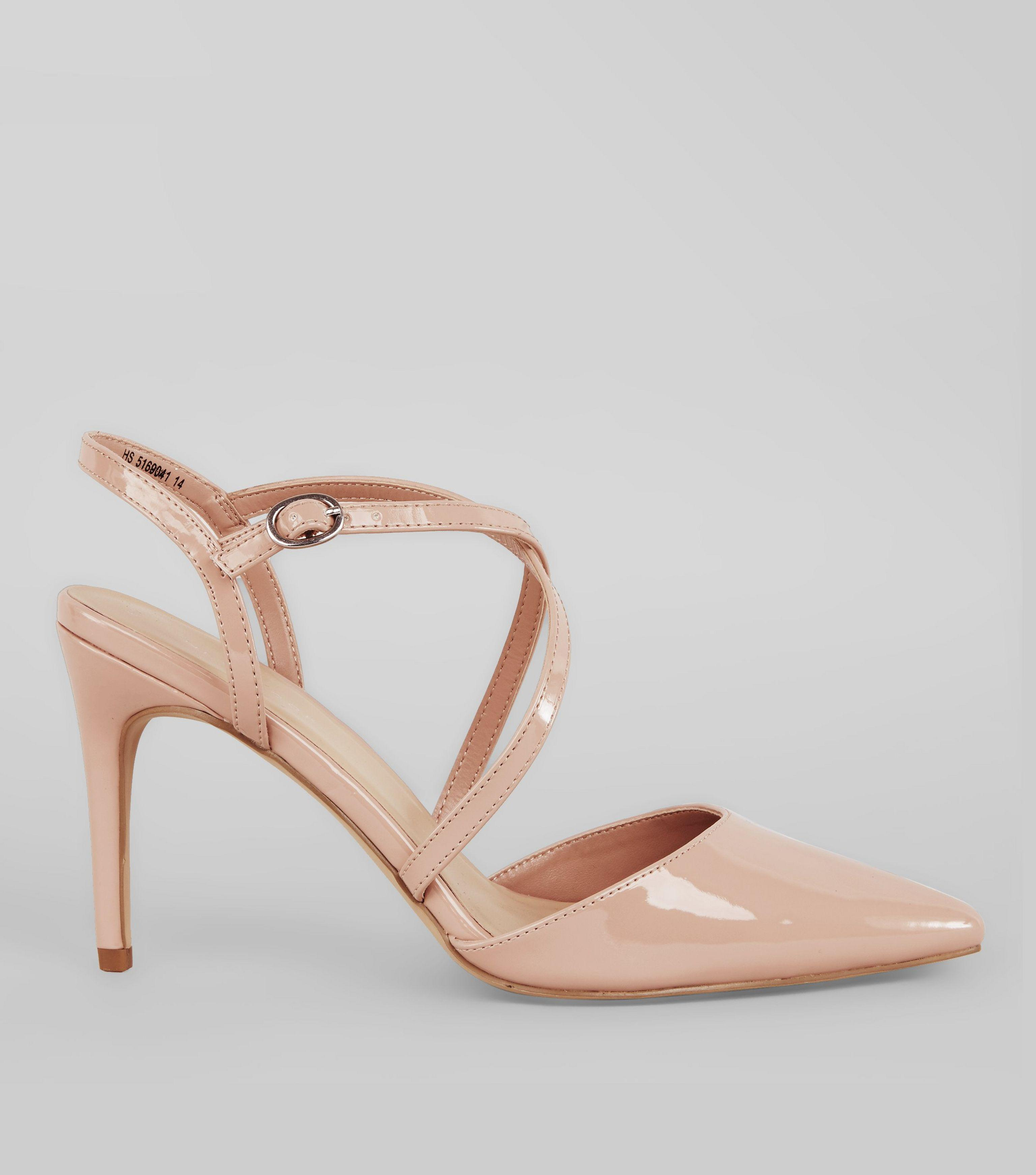 46222f82e973 New Look Nude Pink Patent Cross Strap Pointed Heels - Lyst