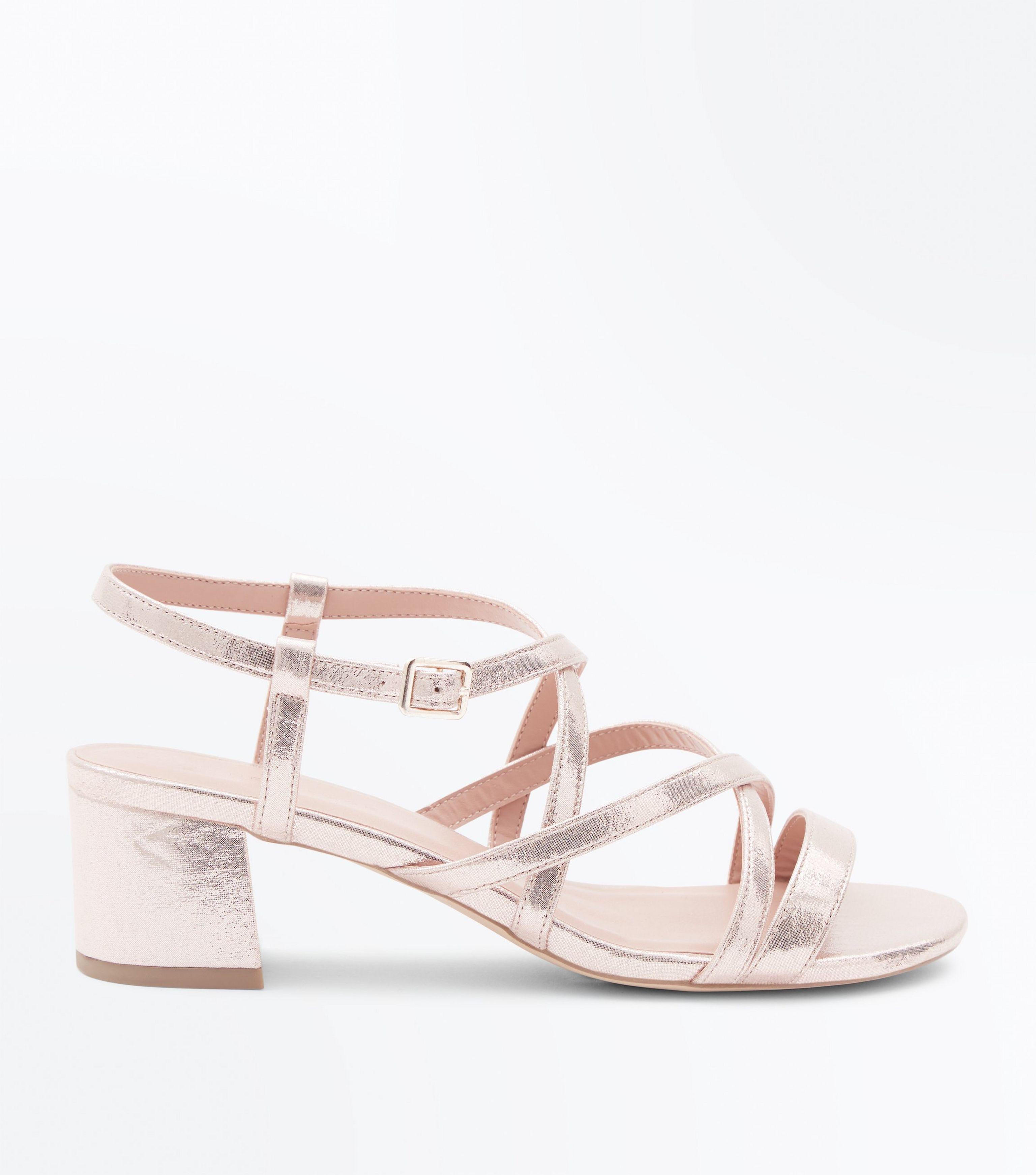 0c82c214ec8 New Look Wide Fit Gold Strappy Low Block Heel Sandals in Metallic - Lyst