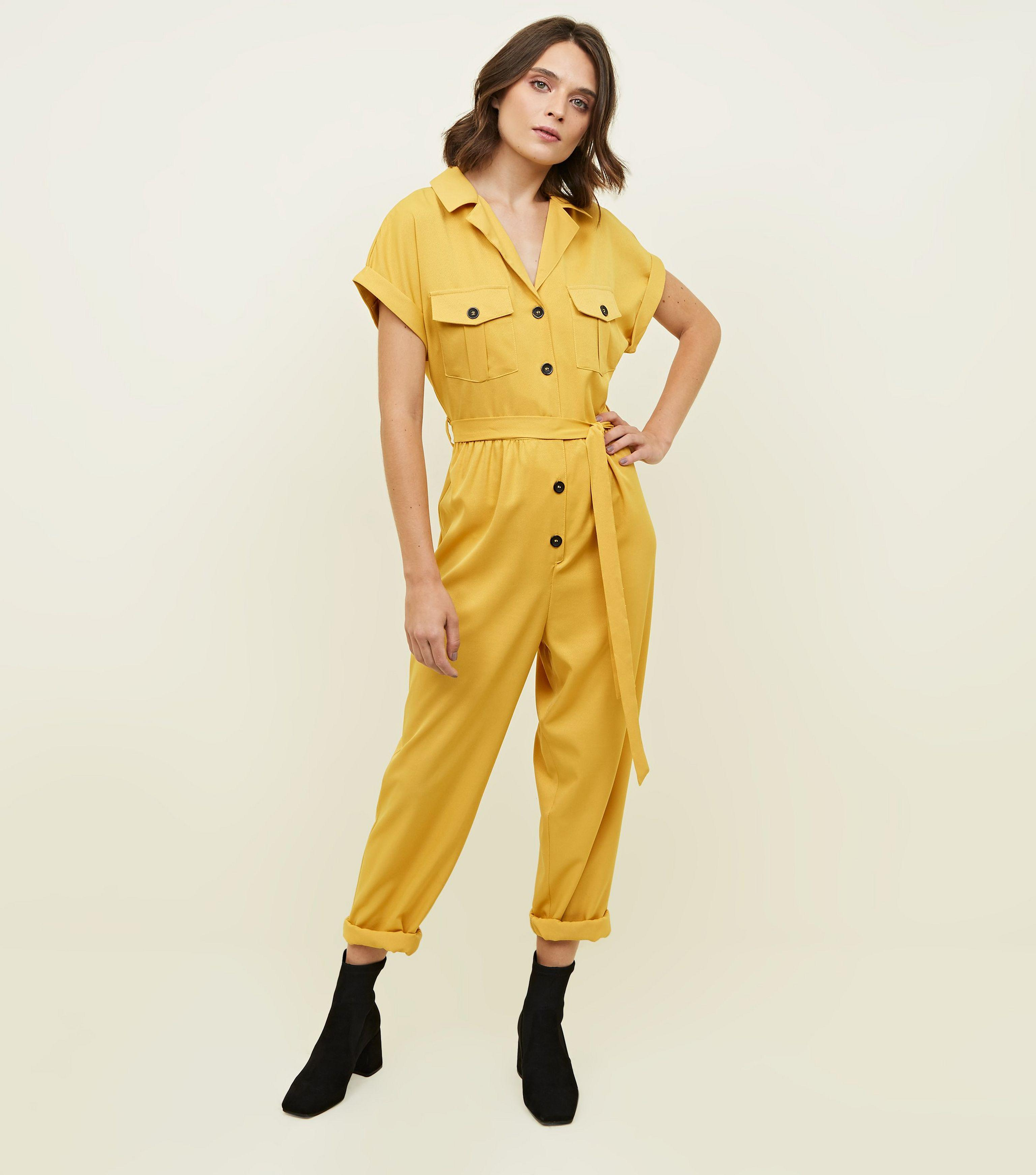 e3b27c8b1f50 New Look Mustard Twill Button Front Utility Jumpsuit in Yellow - Lyst
