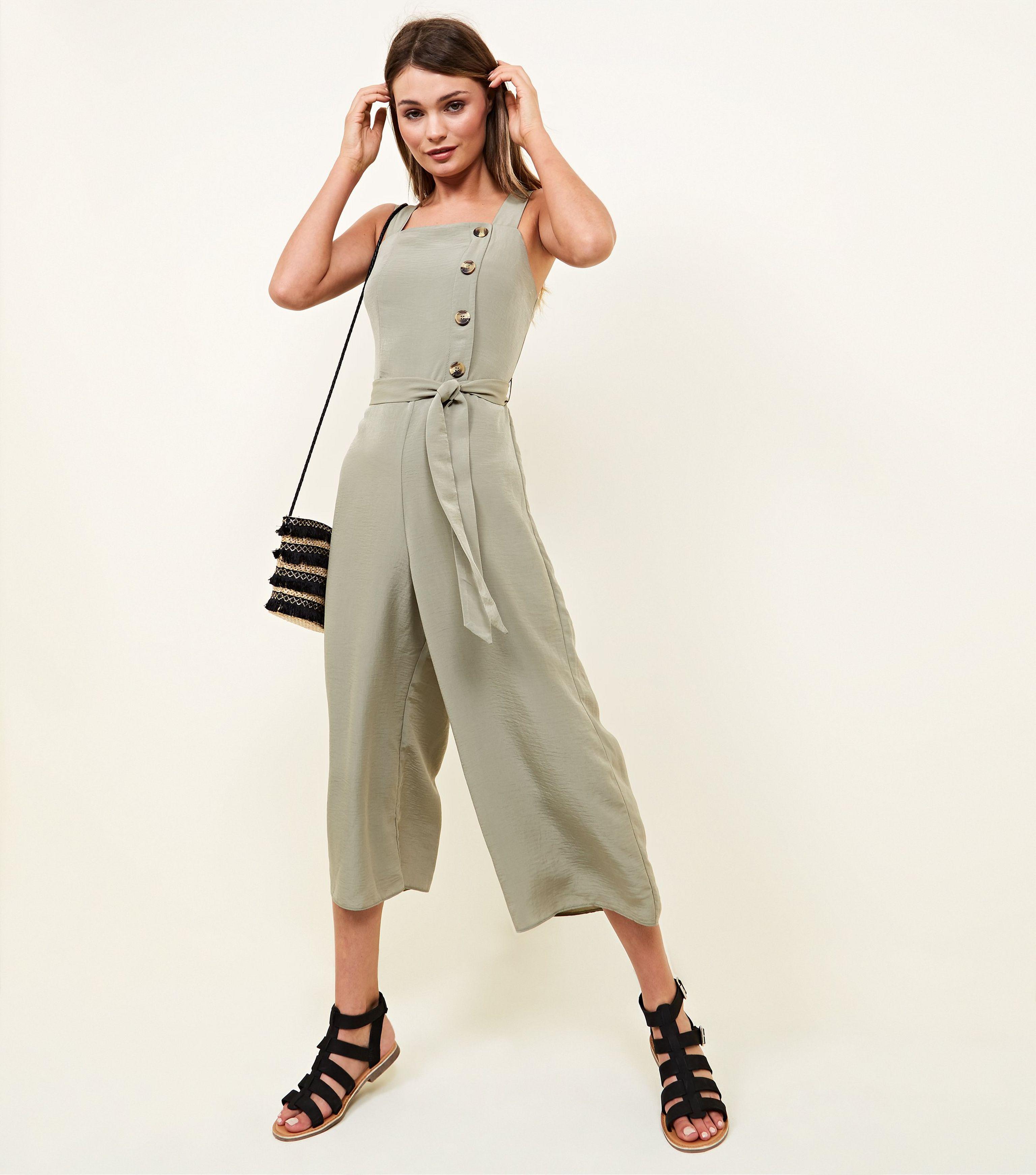 4ac97b8e94e New Look Khaki Asymmetric Button Front Jumpsuit in Natural - Lyst