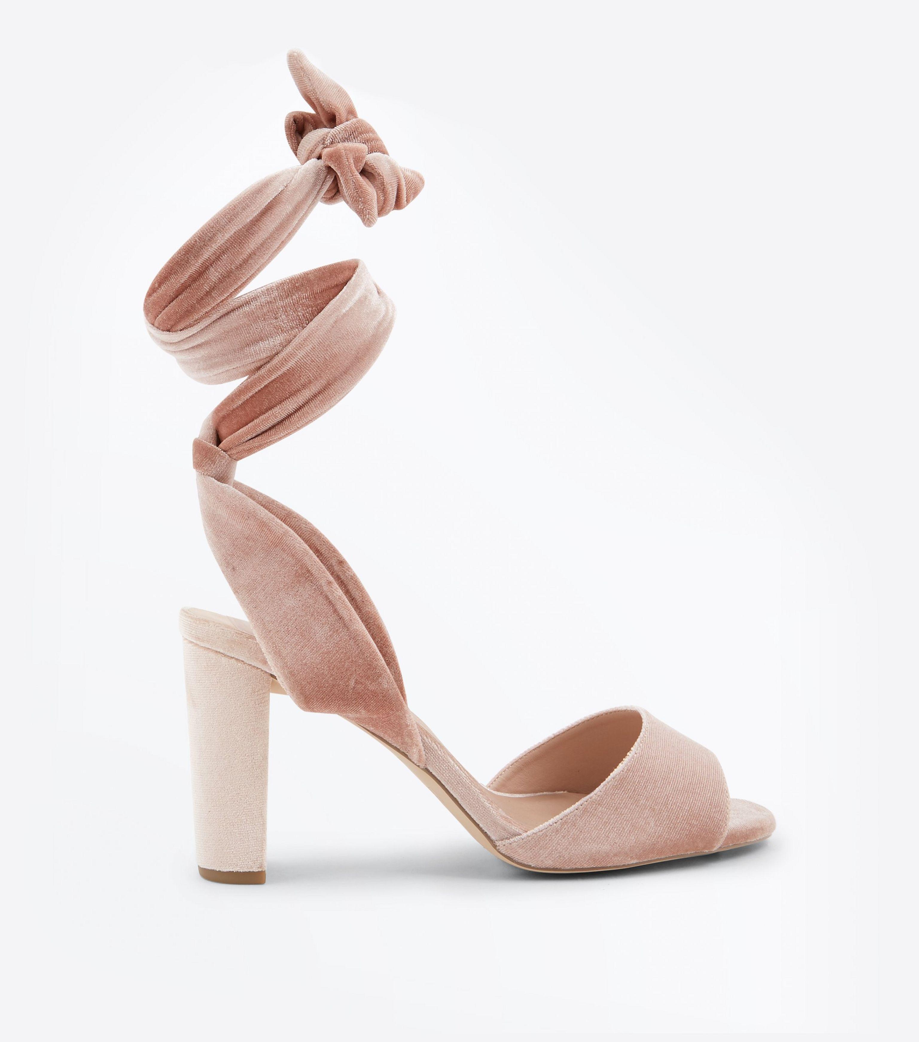 2478095f492 New Look Wide Fit Pink Velvet Tie Up Block Heel Sandals in Pink - Lyst