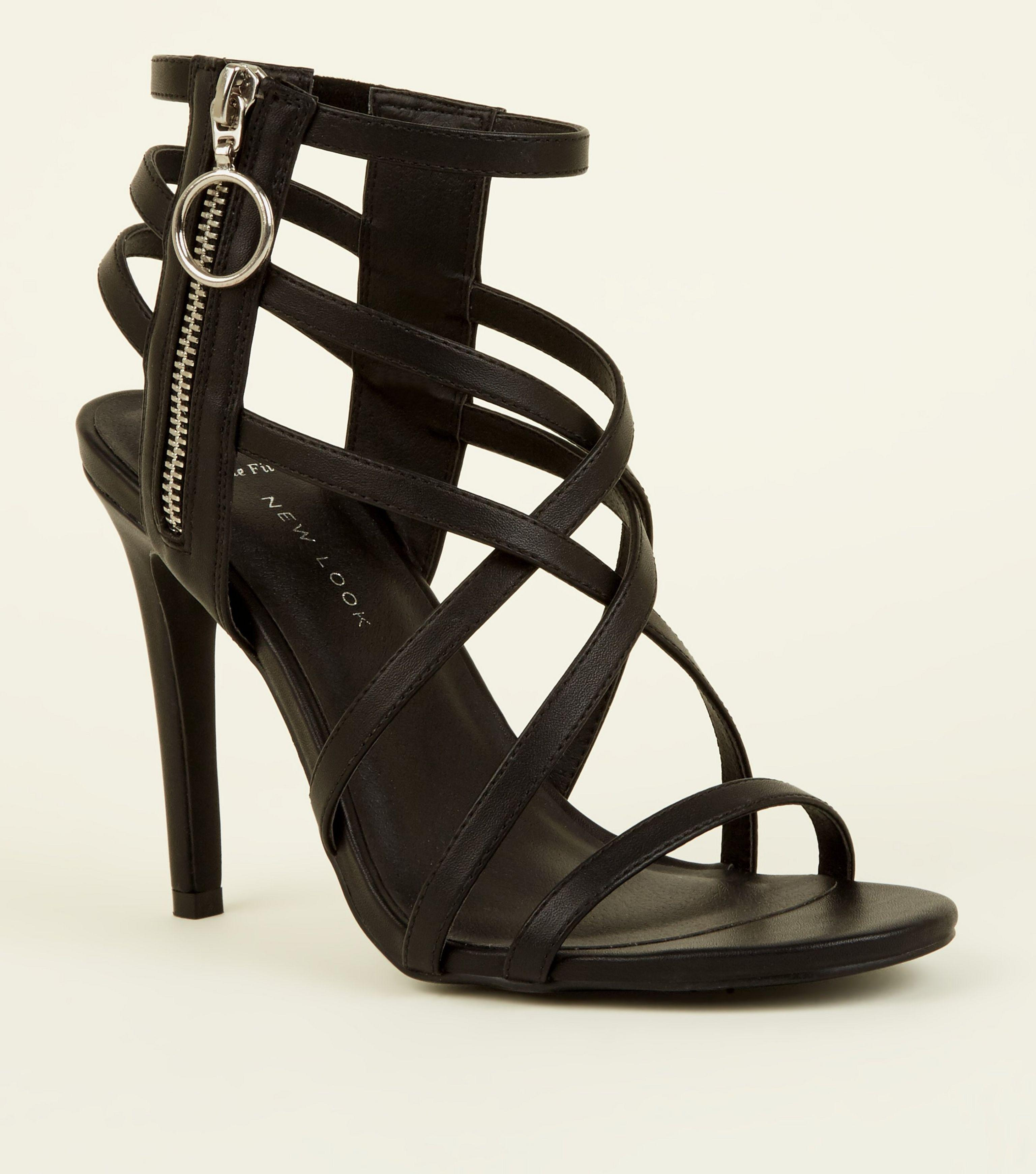 583e453850 New Look Wide Fit Black Strappy Ring Zip Stiletto Sandals in Black ...
