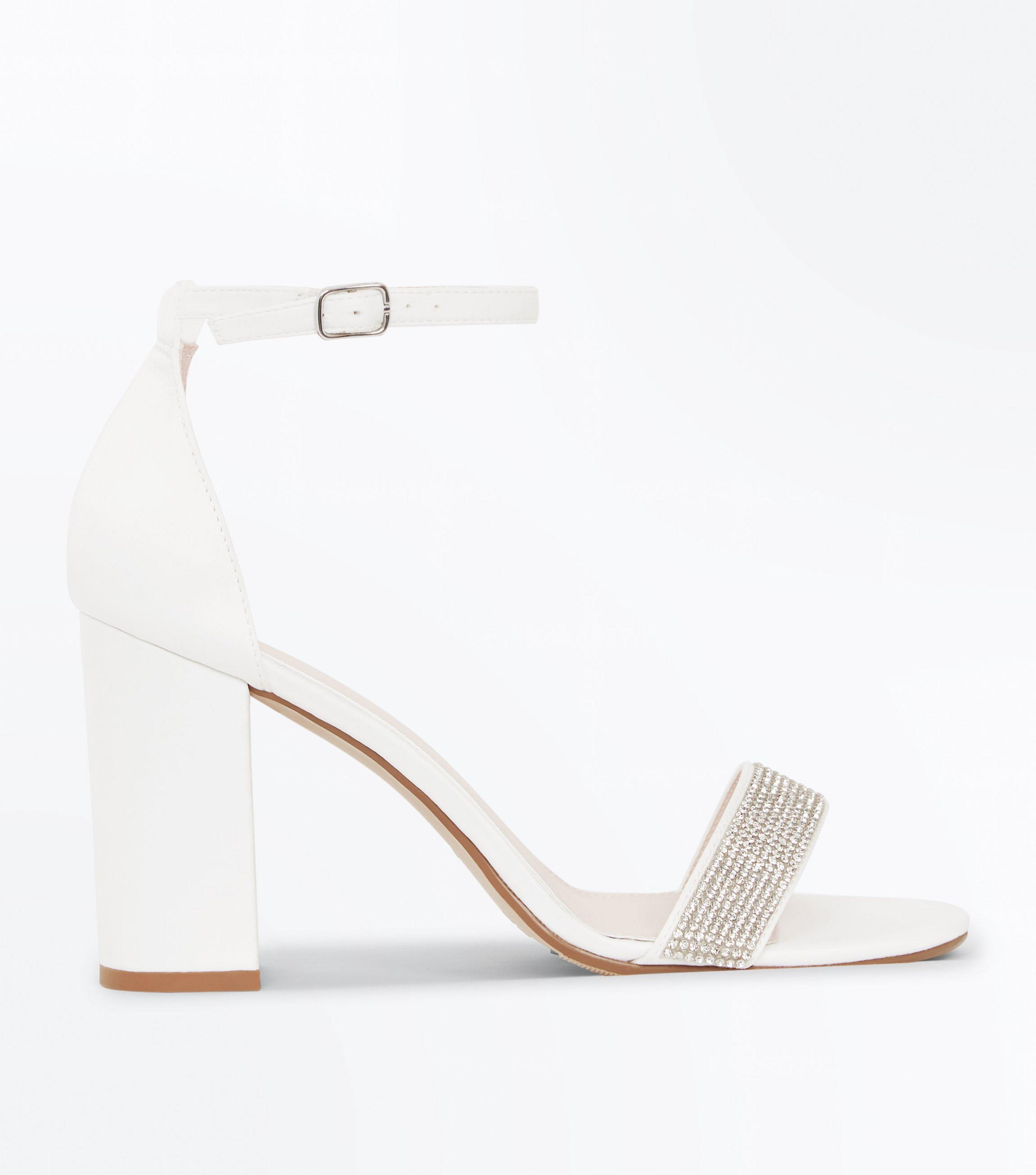 10674ba1f7c New Look Wide Fit Off White Diamanté Strap Wedding Sandals