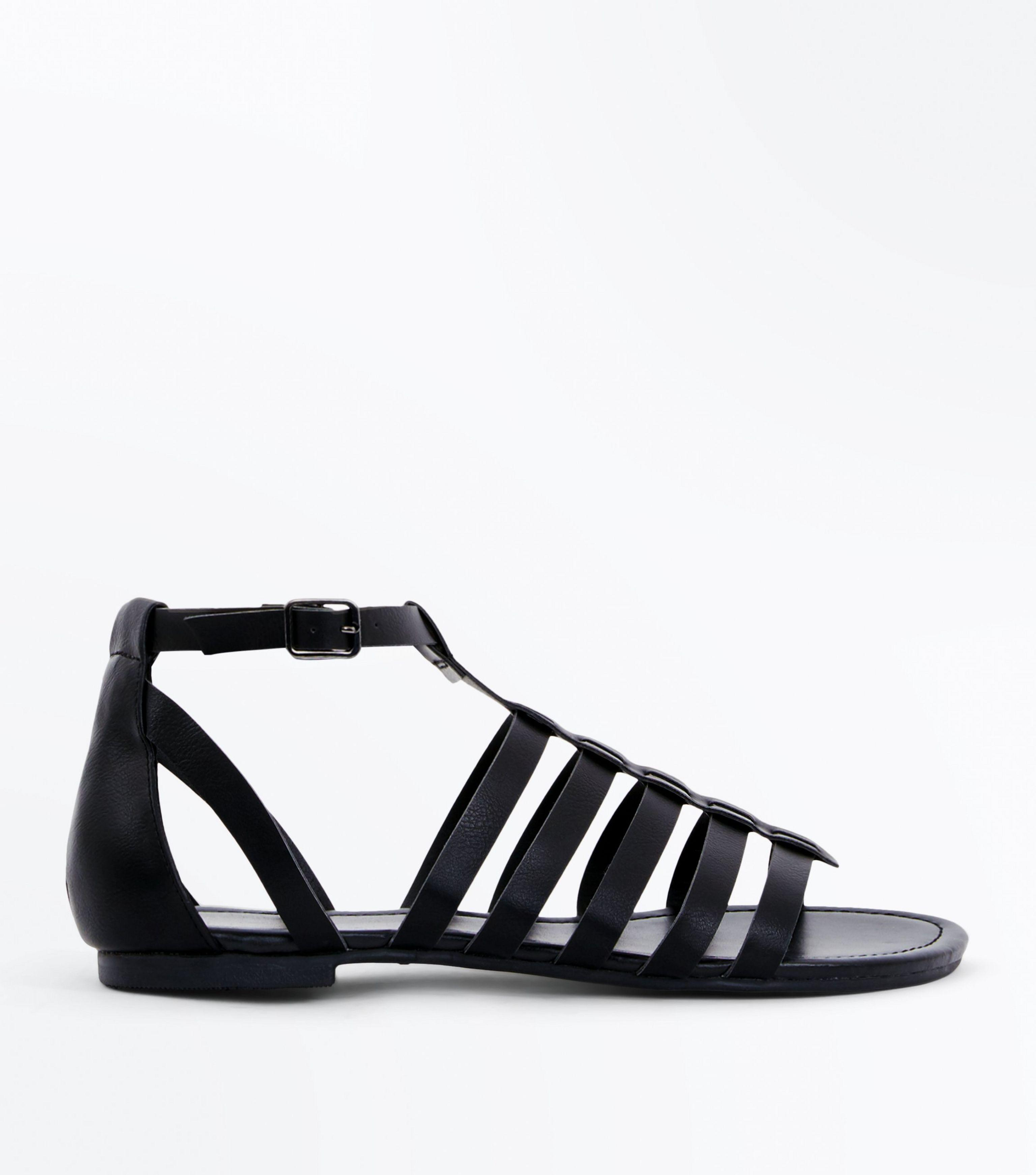 paraninfo Escrementi Morte  New Look Leather Wide Fit Black Gladiator Flat Sandals - Lyst