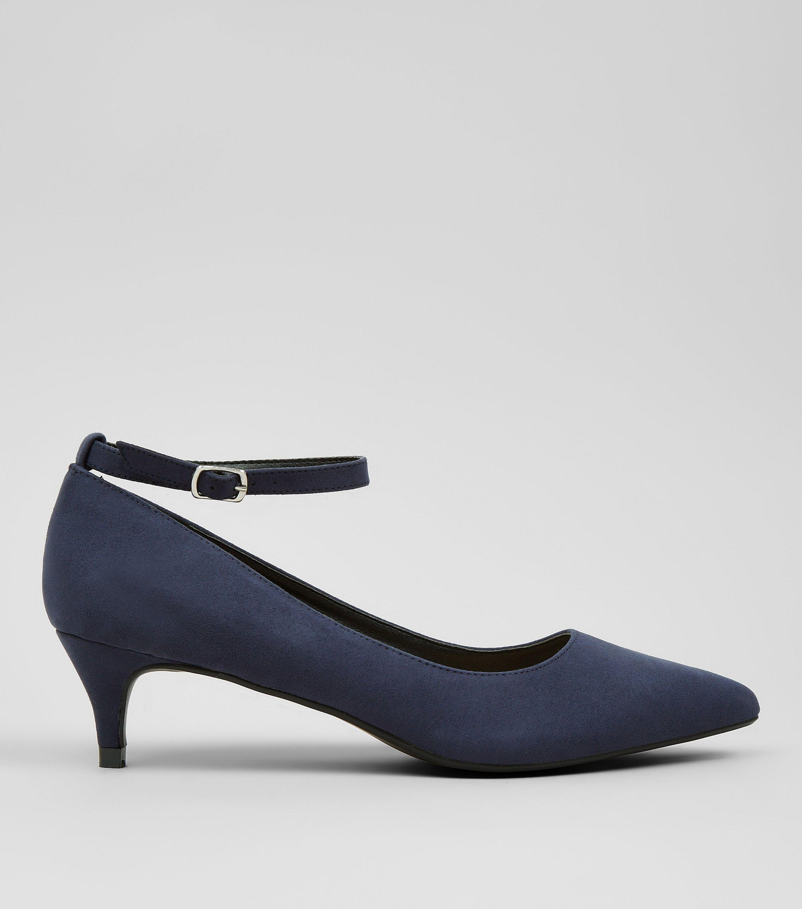 a7f1a0240ee New Look Navy Suedette Mid Heel Ankle Strap Court Shoes in Blue - Lyst