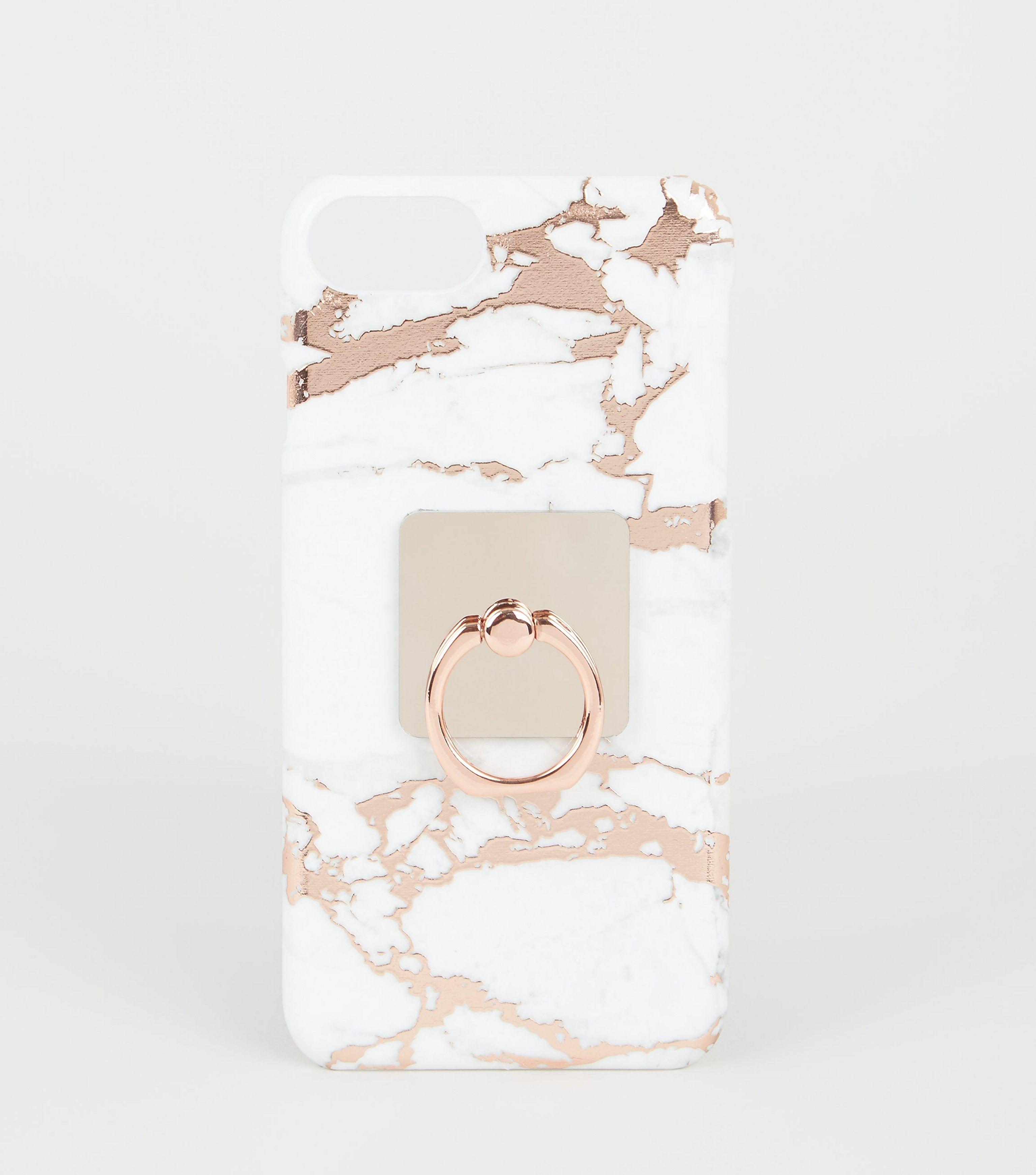New Look Rose Gold Marble Effect Case For Iphone 6 6s 7 8 Lyst