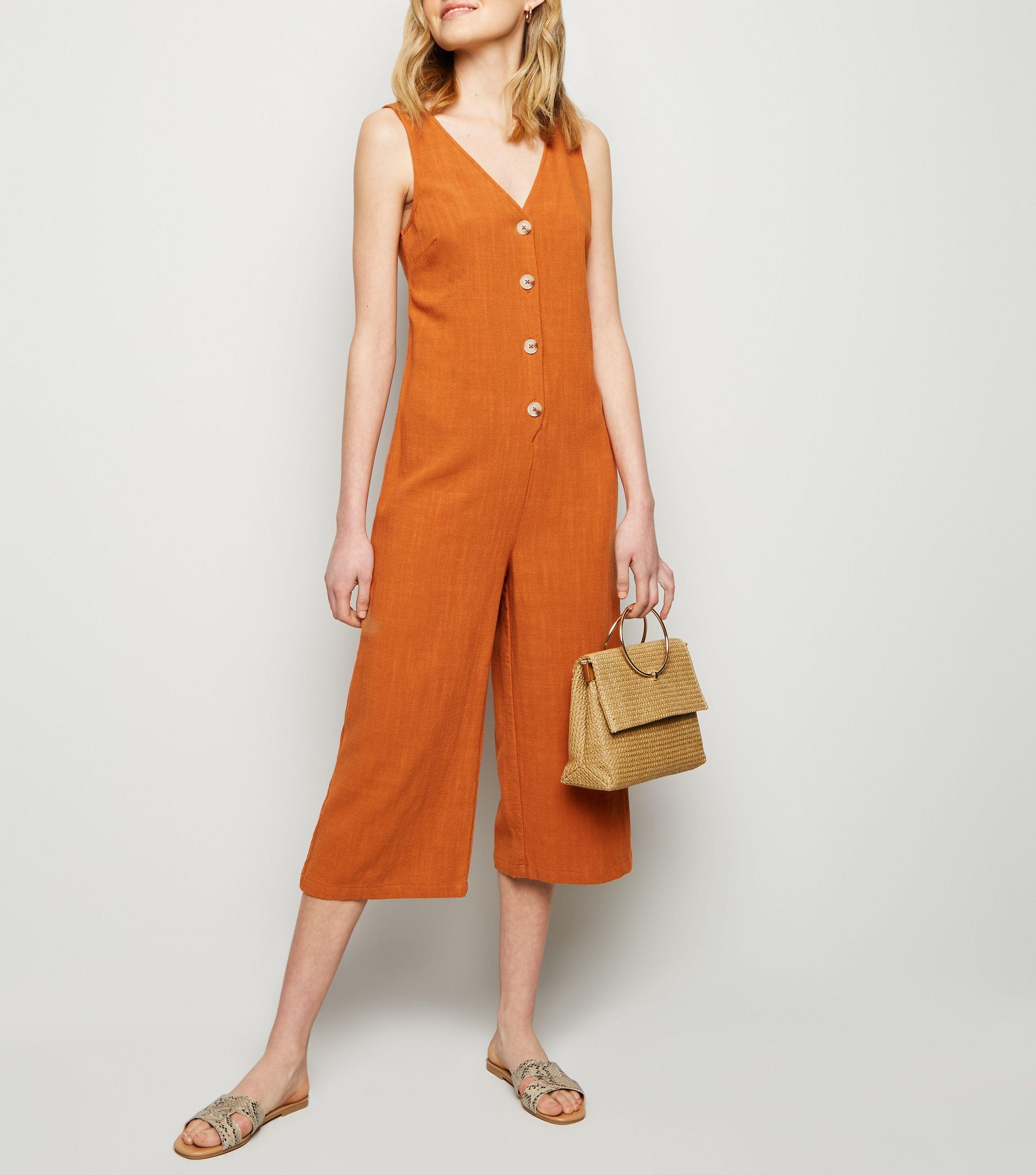 eed8ef5656 New Look Rust Linen Look Button Front Crop Jumpsuit in Orange - Lyst
