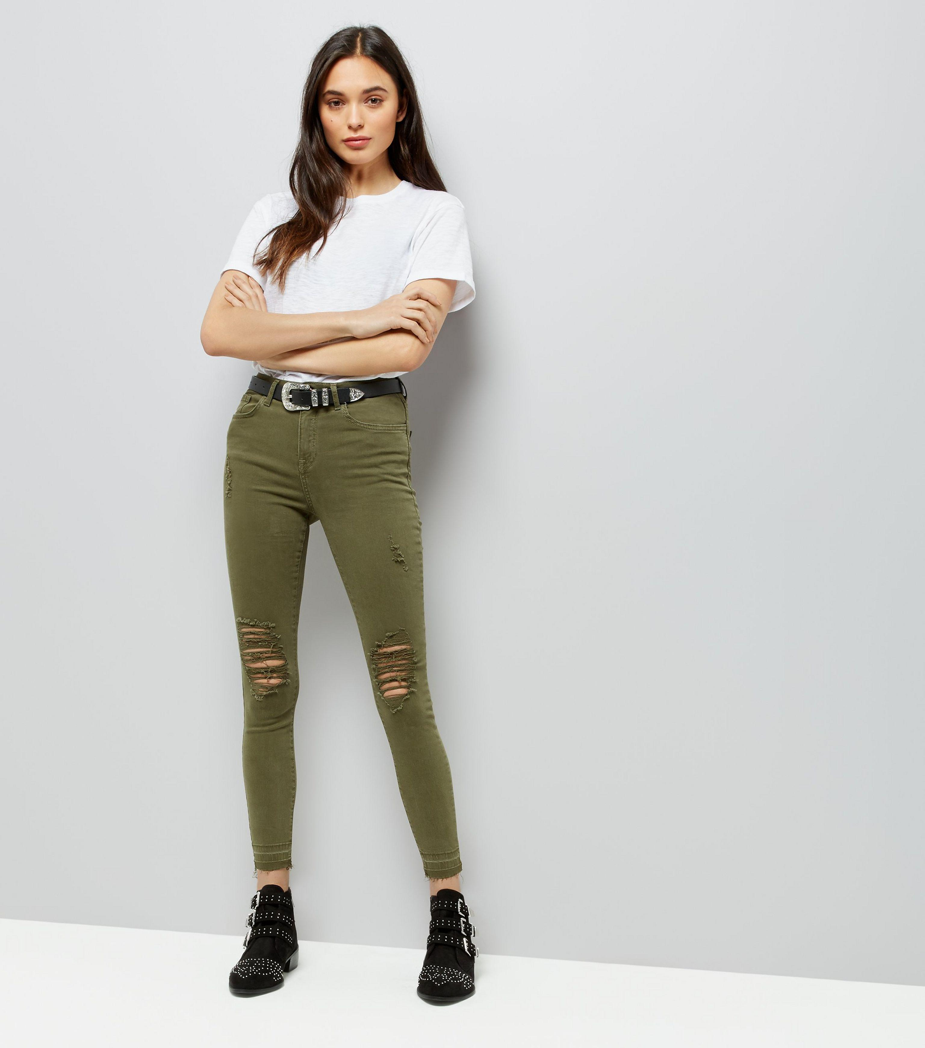 matching in colour choose newest many fashionable Khaki Ripped Knee Skinny Jenna Jeans