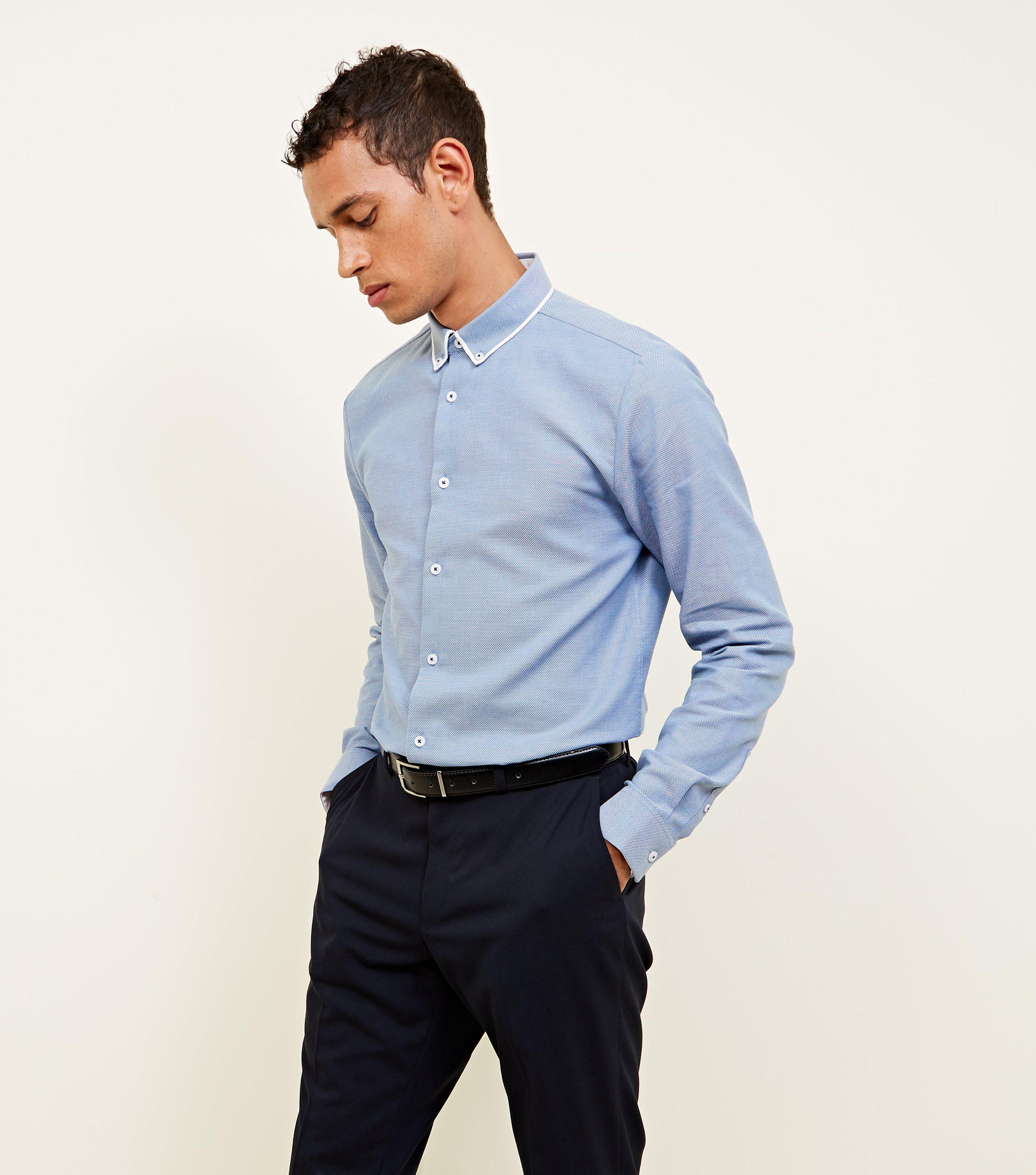 794bb1946f4 Lyst - New Look Navy Textured Double Collared Shirt in Blue for Men