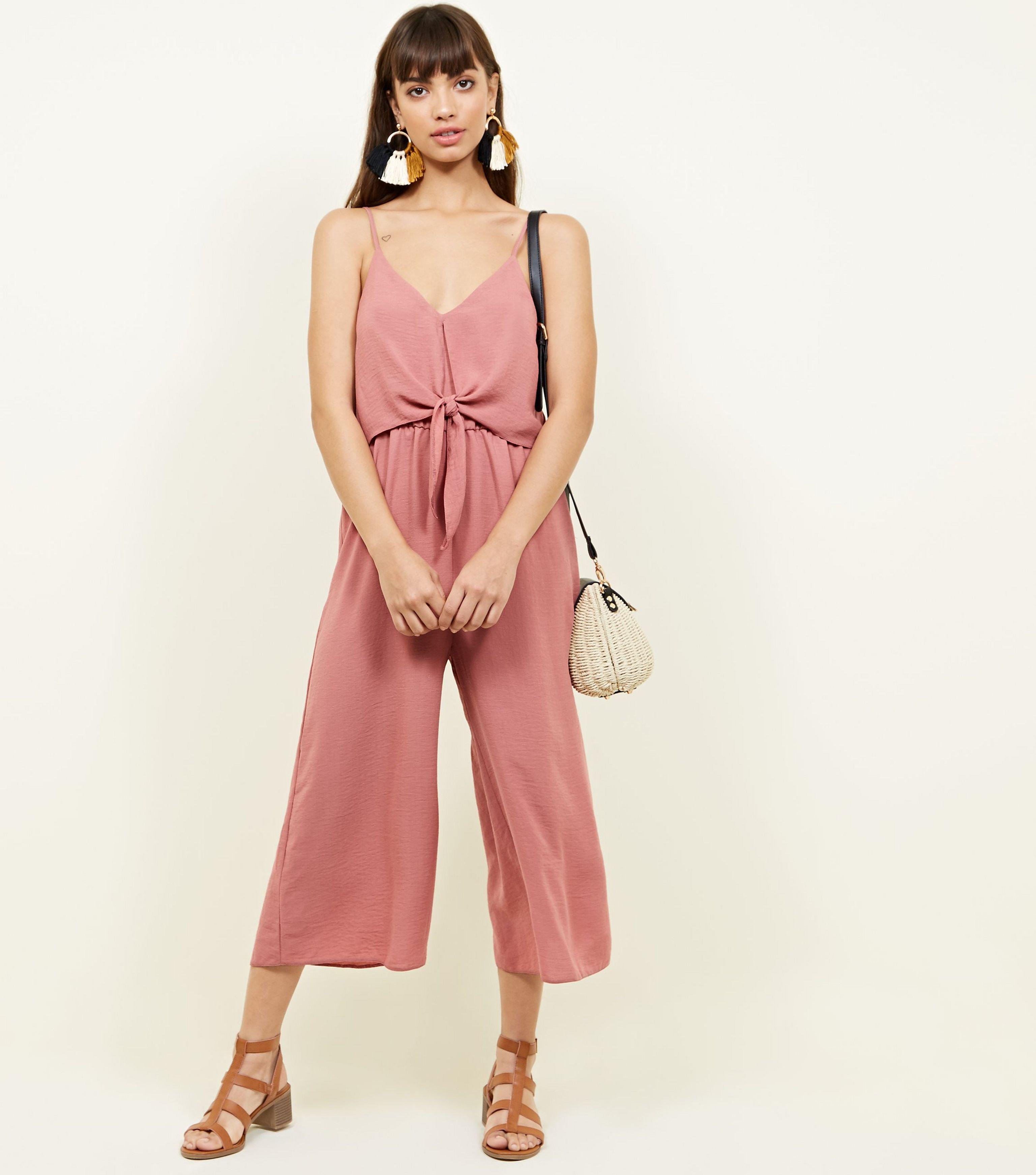 9fdba911295ad New Look Mid Pink Tie Front Linen-look Jumpsuit in Pink - Lyst