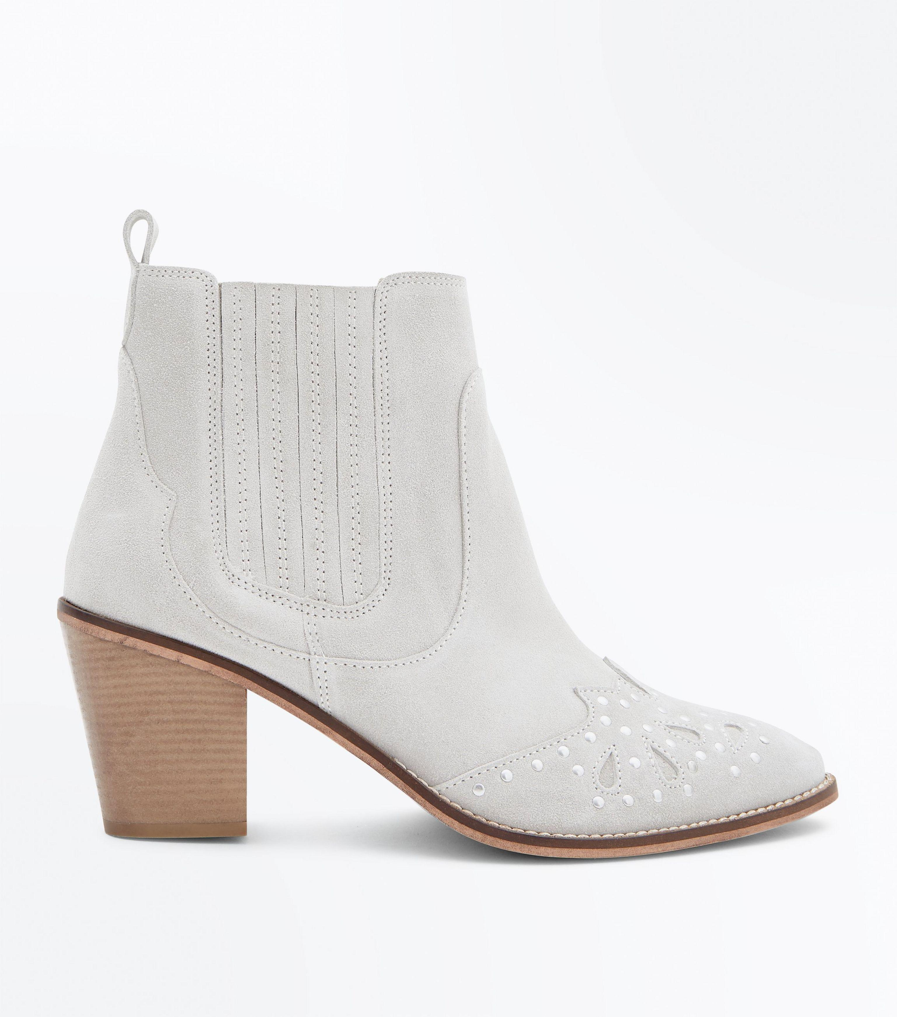 8ef8a0f0ae8 New Look Chloe's Finds Wide Fit Cream Suede Studded Western Boots in ...