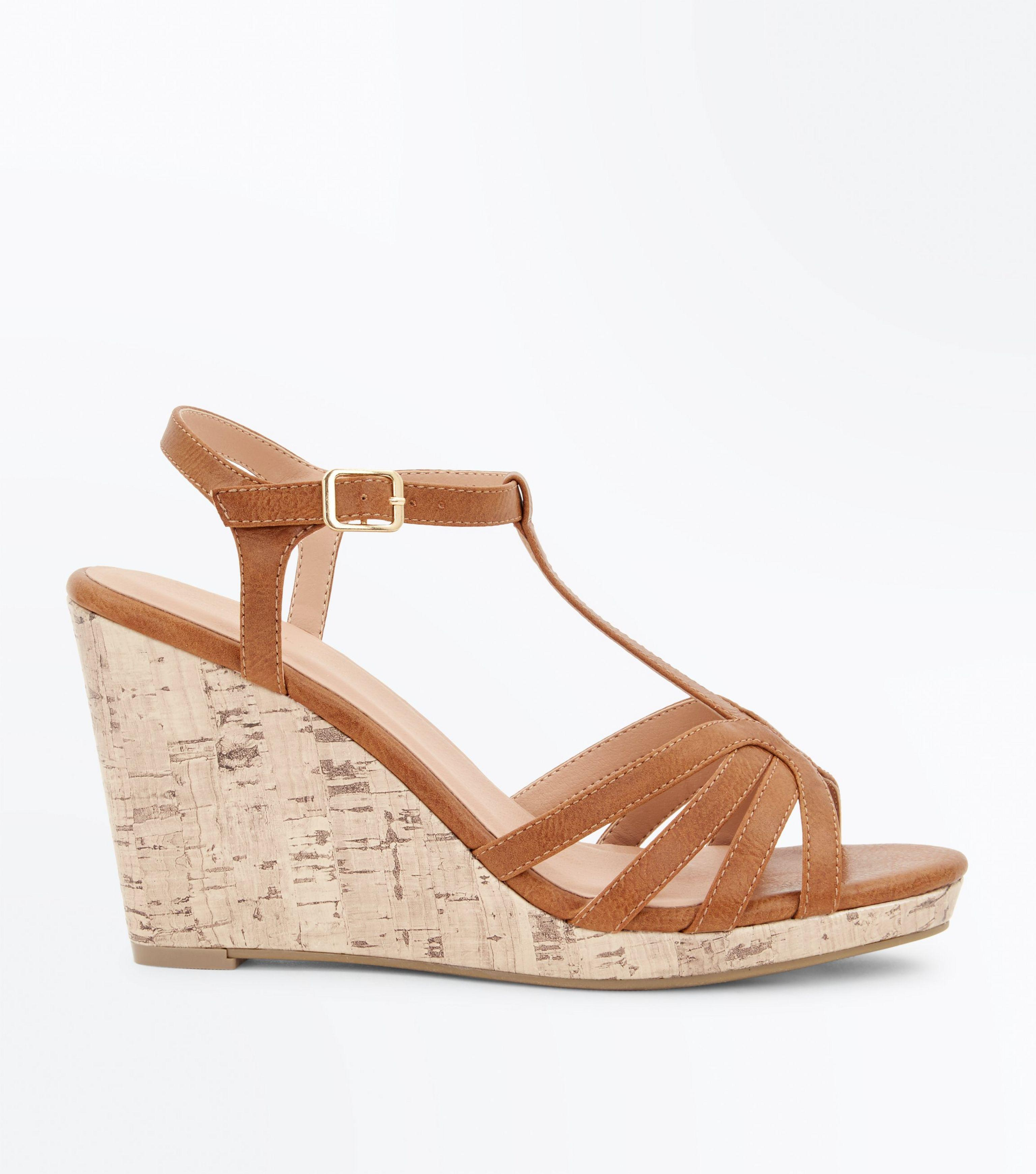 1b7aa733a15 New Look Brown Tan Strappy T-bar Cork Wedges
