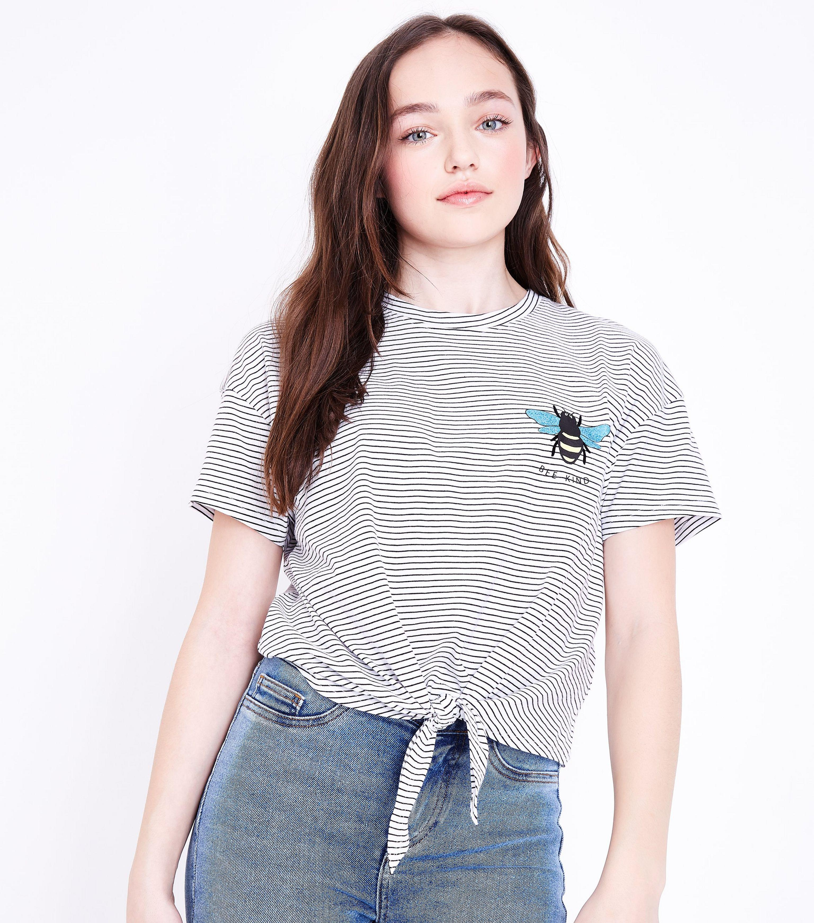 0d257ebae4 New Look Teens White Stripe Bee Kind Embroidered Tie Front T-shirt ...