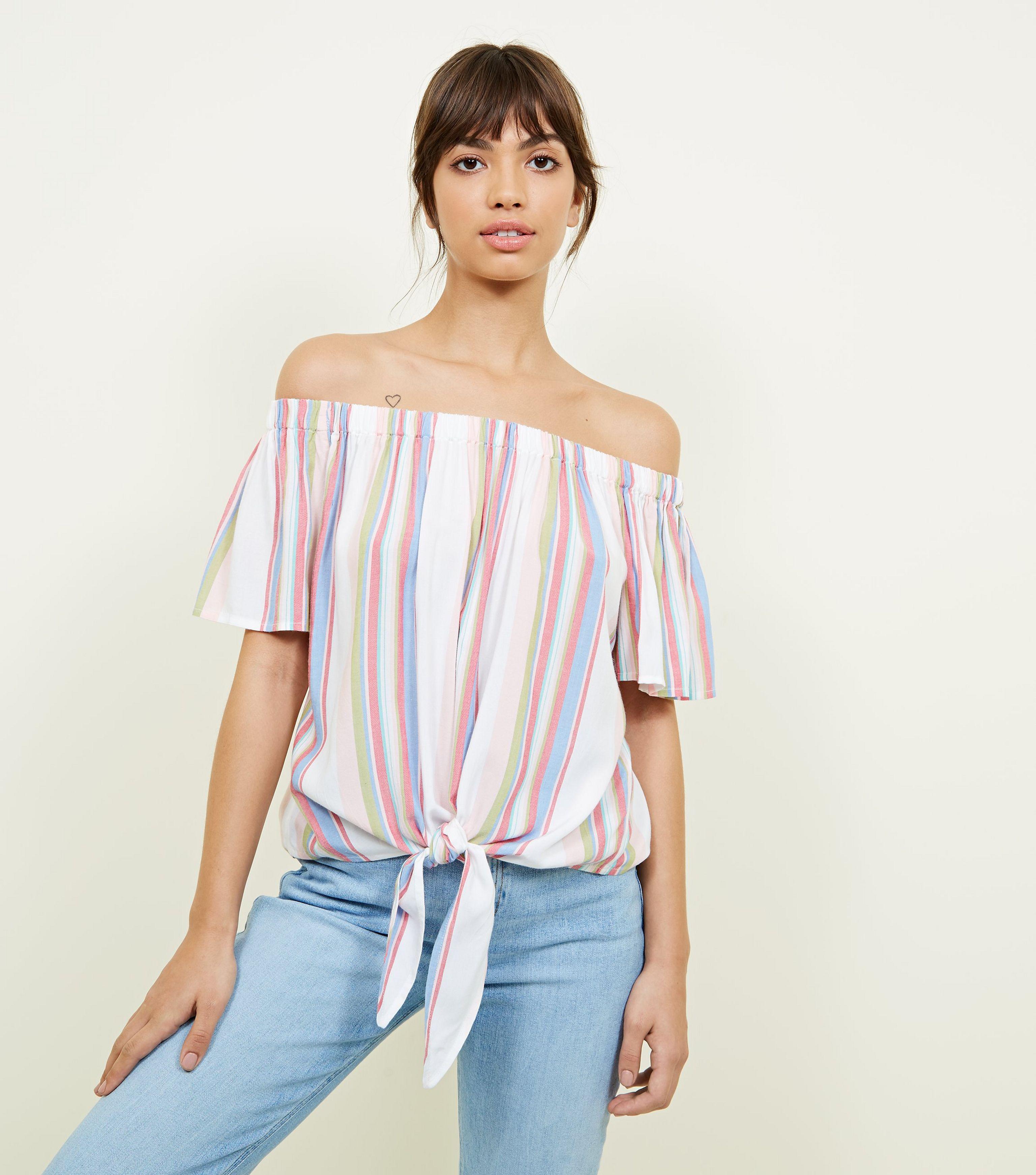 0b64391c4f0 New Look White Multi Stripe Tie Front Bardot Top in White - Lyst
