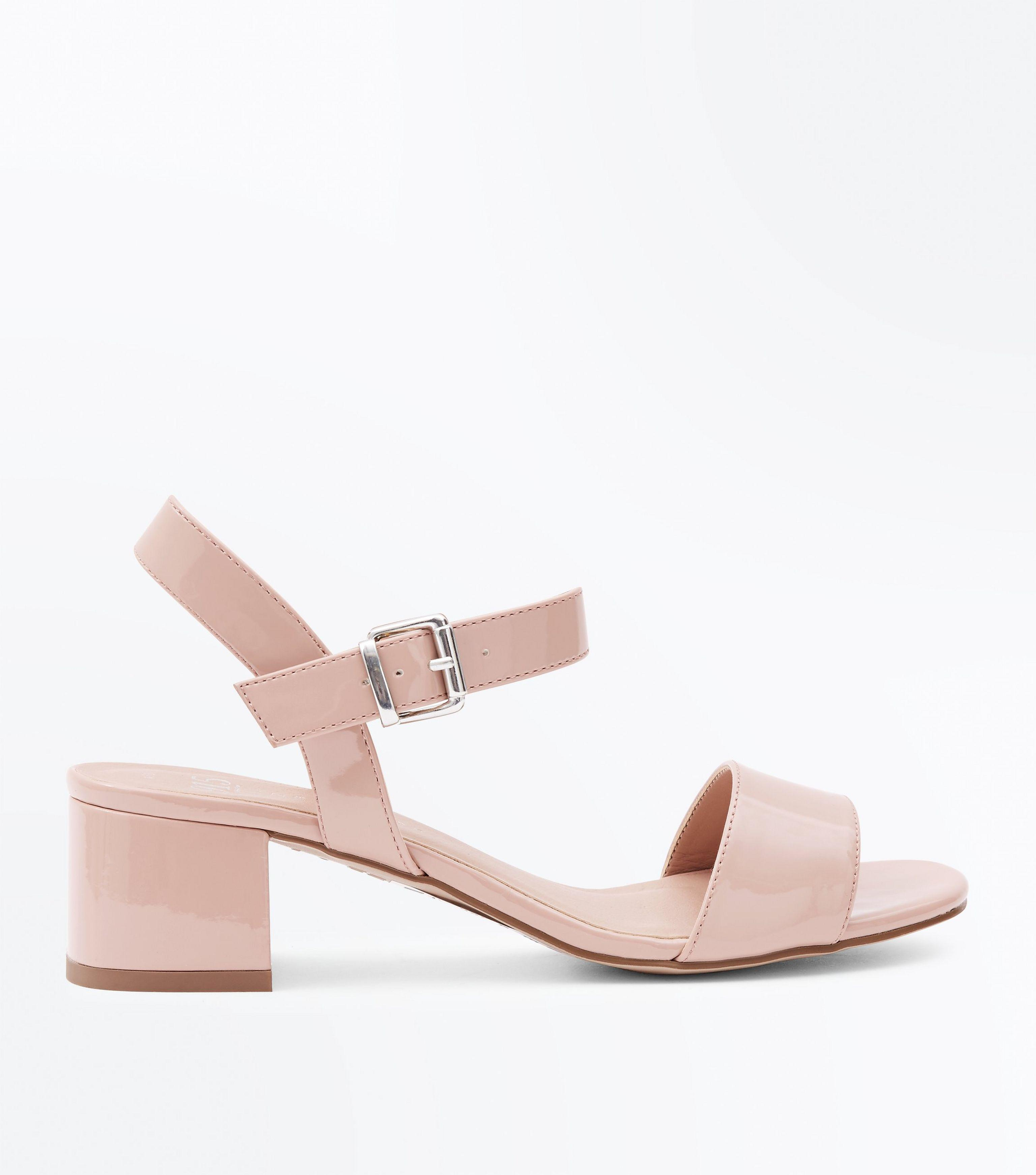 a5265a578f9 New Look Pink Girls Nude Patent Block Heel Sandals