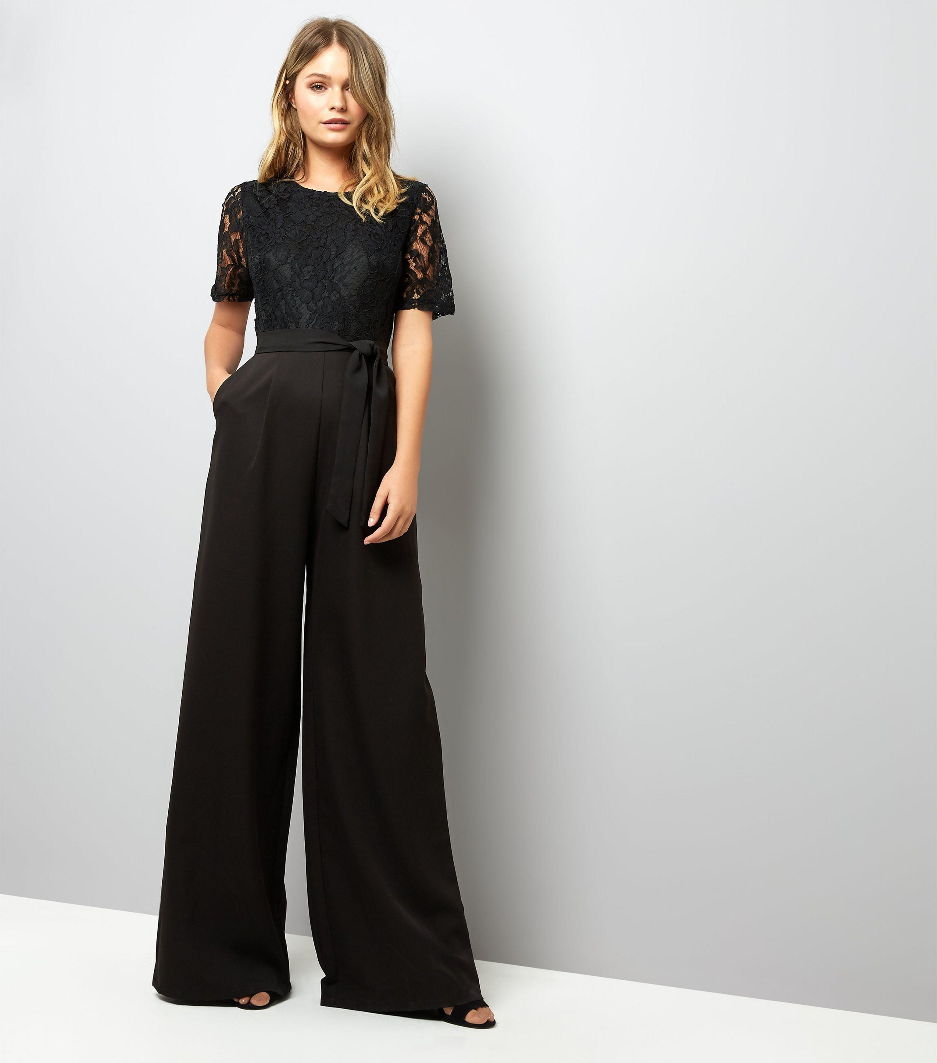 93bff19eea82 Mela Black Lace Top Wide Leg Jumpsuit in Black - Lyst
