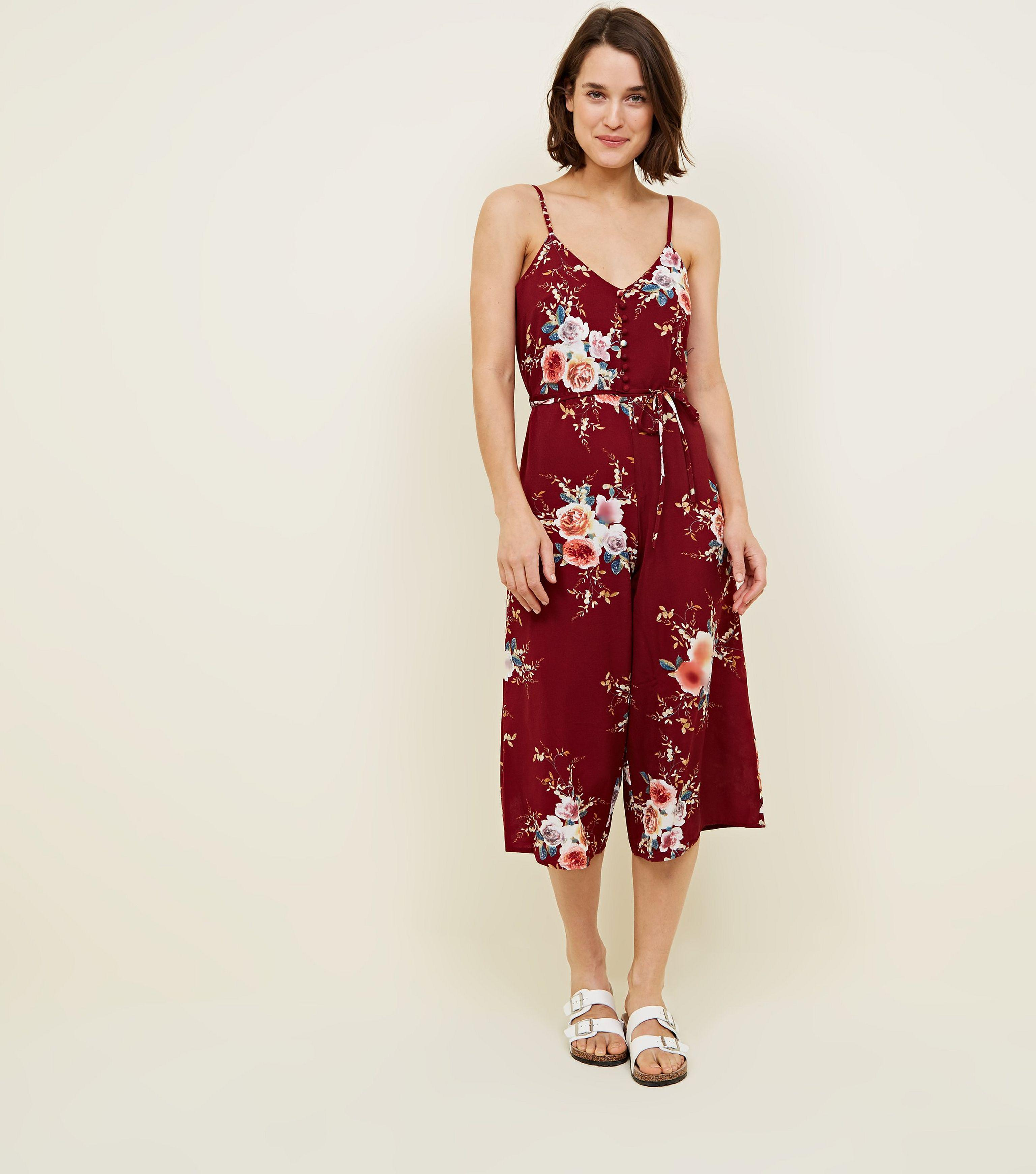 82d3a4b1049 New Look Burgundy Floral Culotte Jumpsuit in Red - Lyst