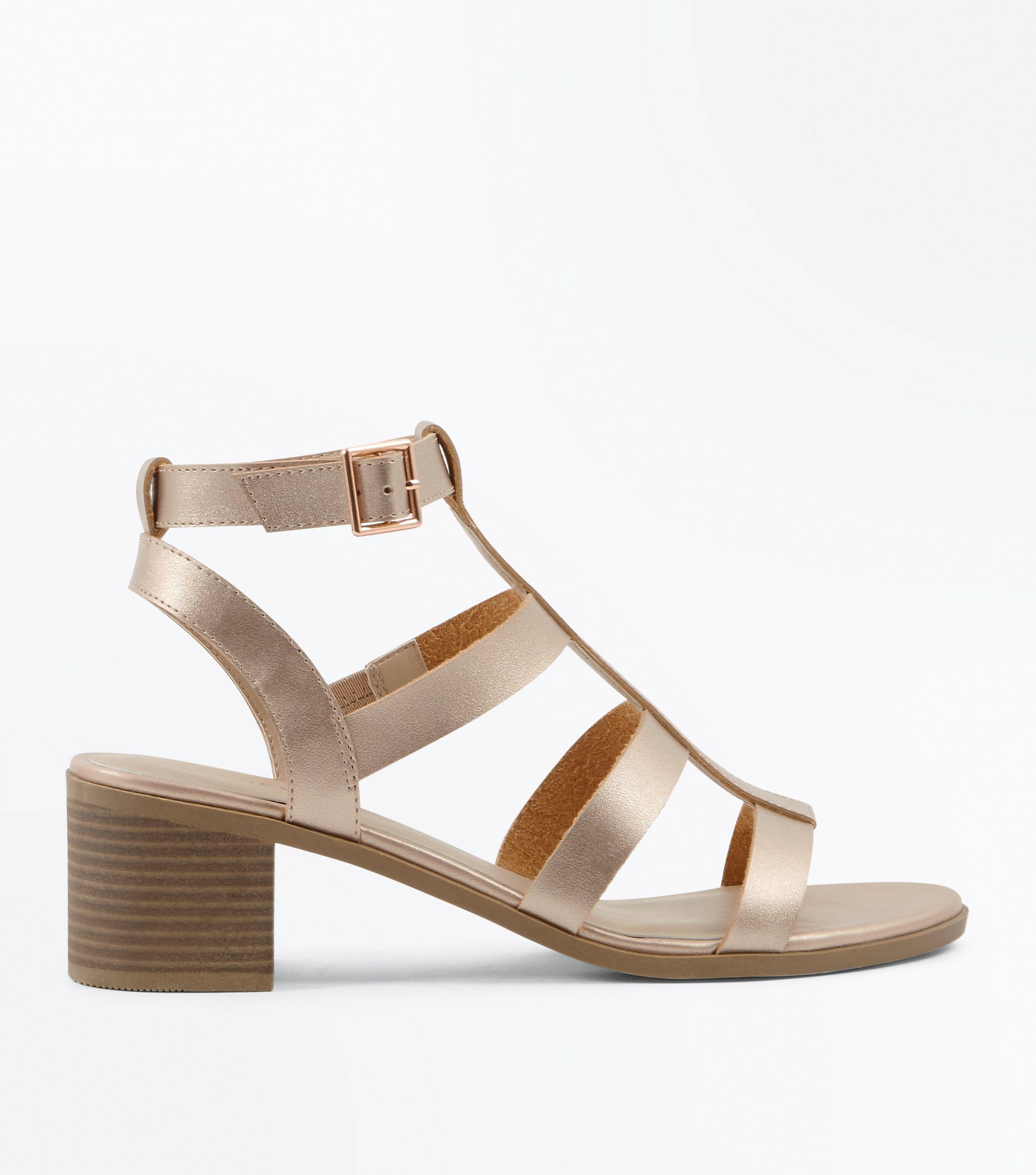 c96b865c6fc New Look Rose Gold Low Block Heel Gladiator Sandals in Pink - Lyst