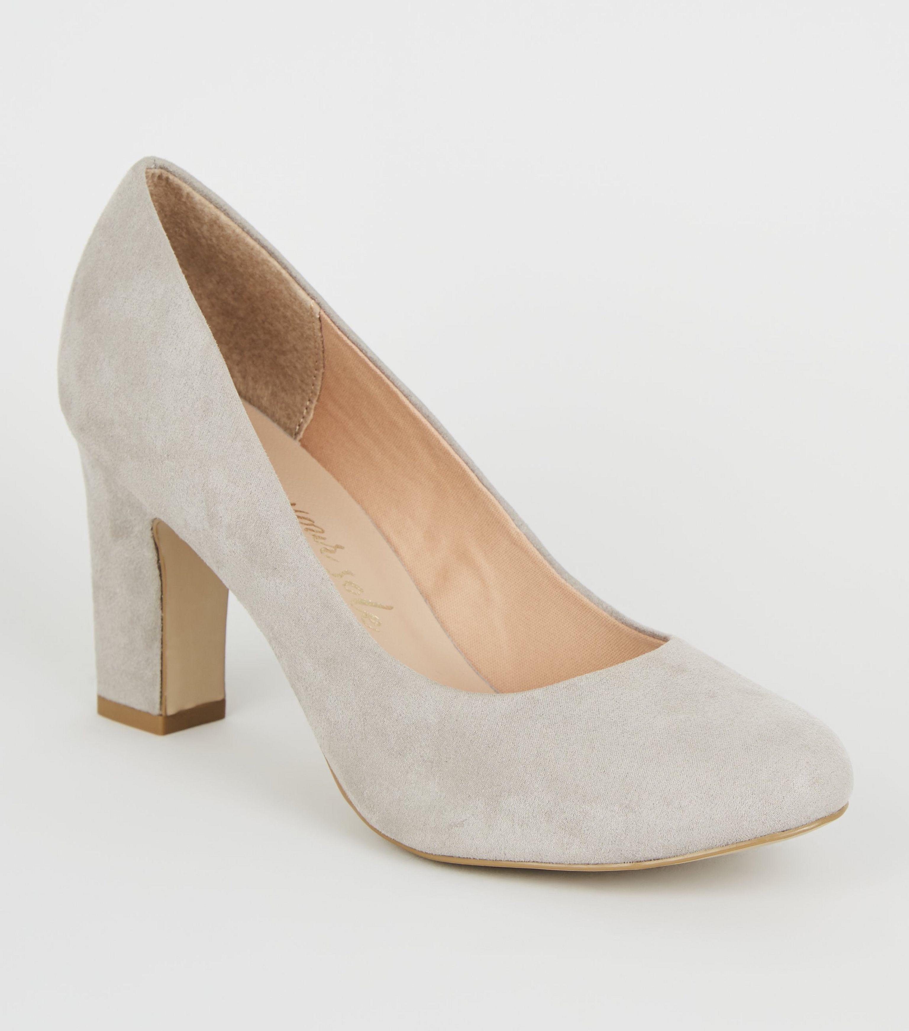 New Look Wide Fit Grey Block Heel Court