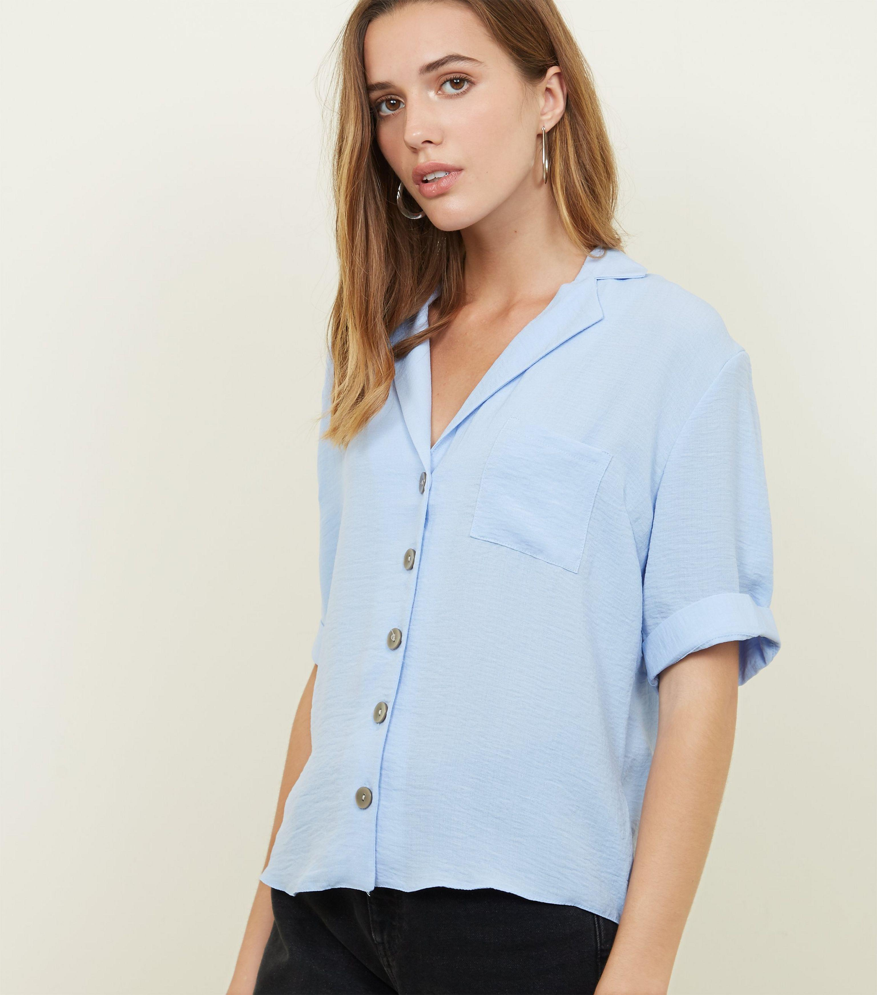 9420b9777c3db New Look Tall Blue Revere Collar Button Front Shirt in Blue - Lyst