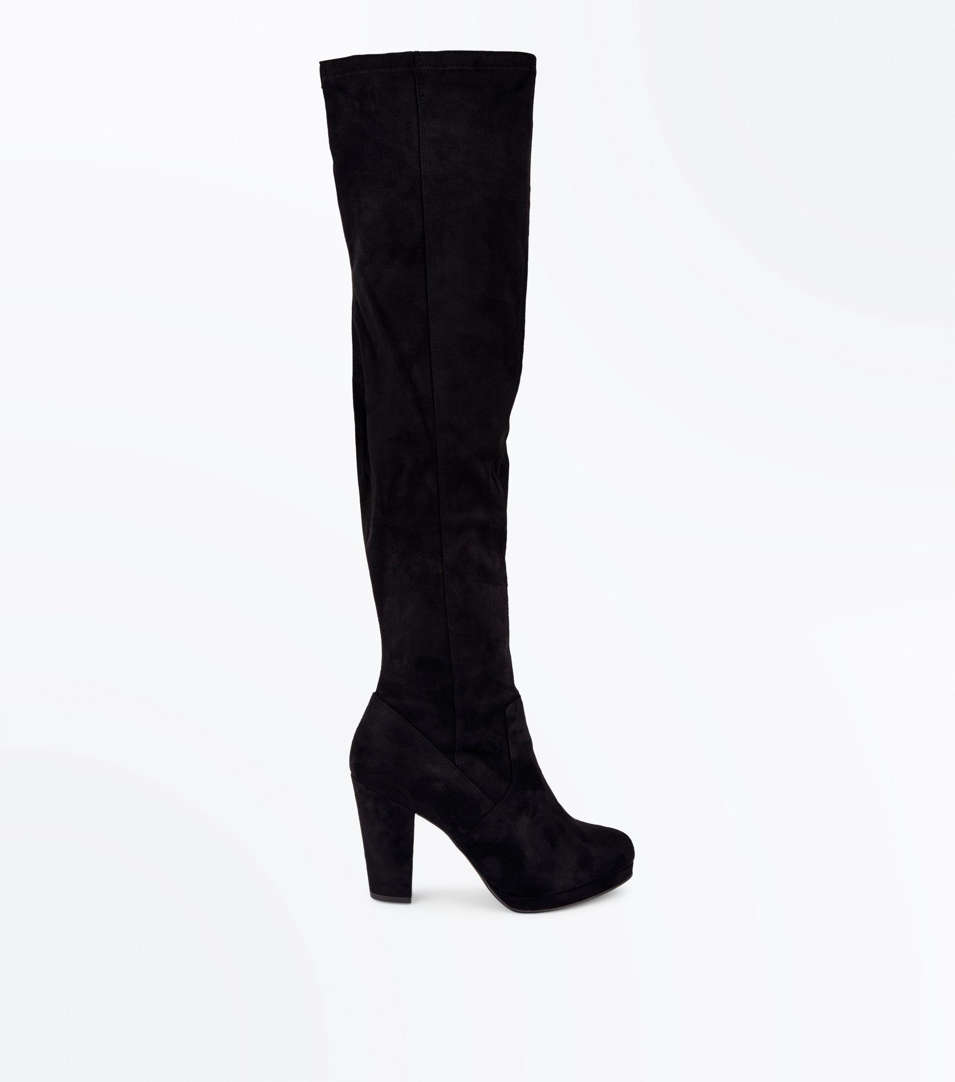 505448004fe New Look Wide Fit Black Suedette Platform Over The Knee Boots in ...