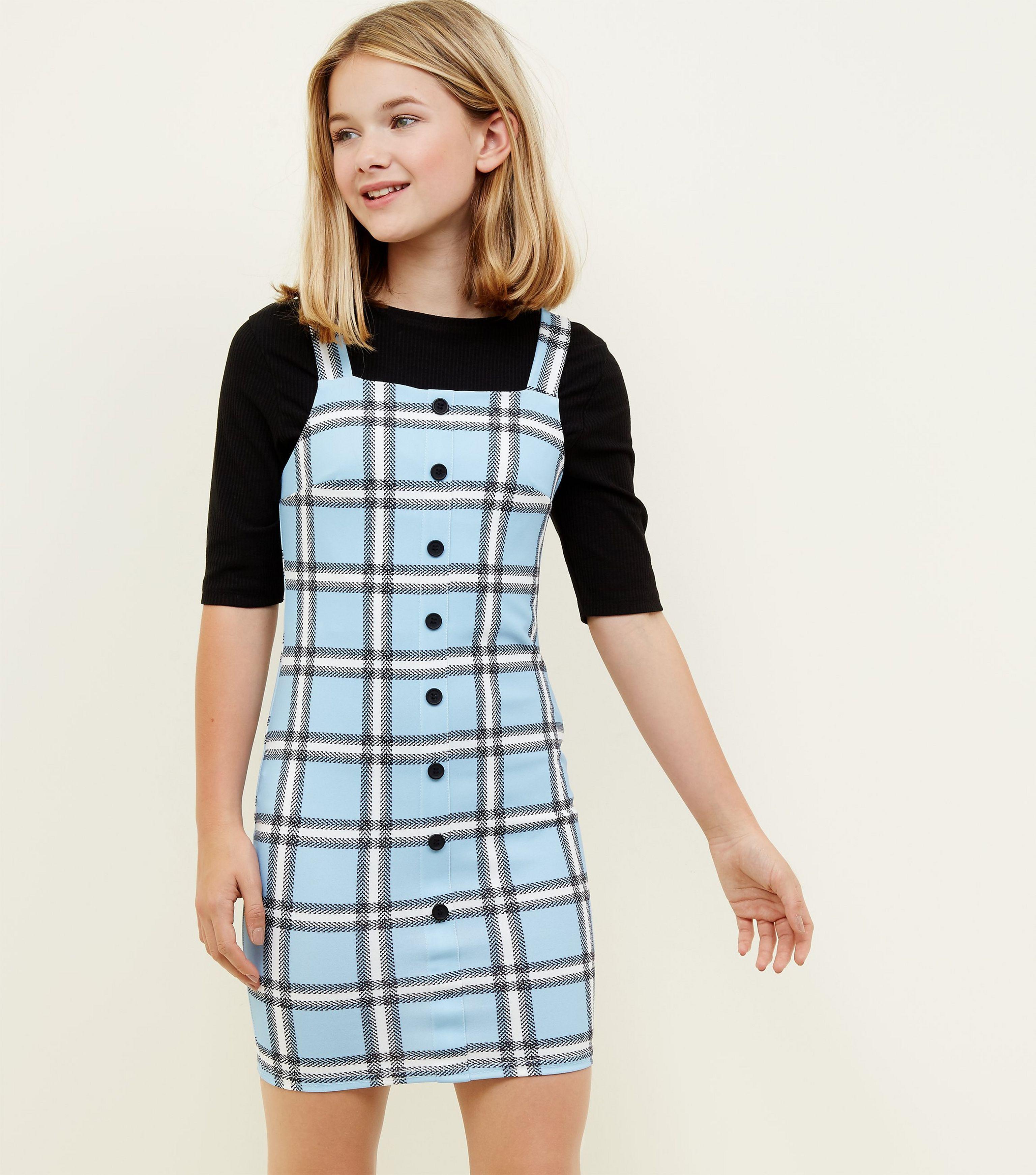 0d8cf05c0ba New Look. Women s Girls Blue Check Button Front Bodycon Pinafore Dress