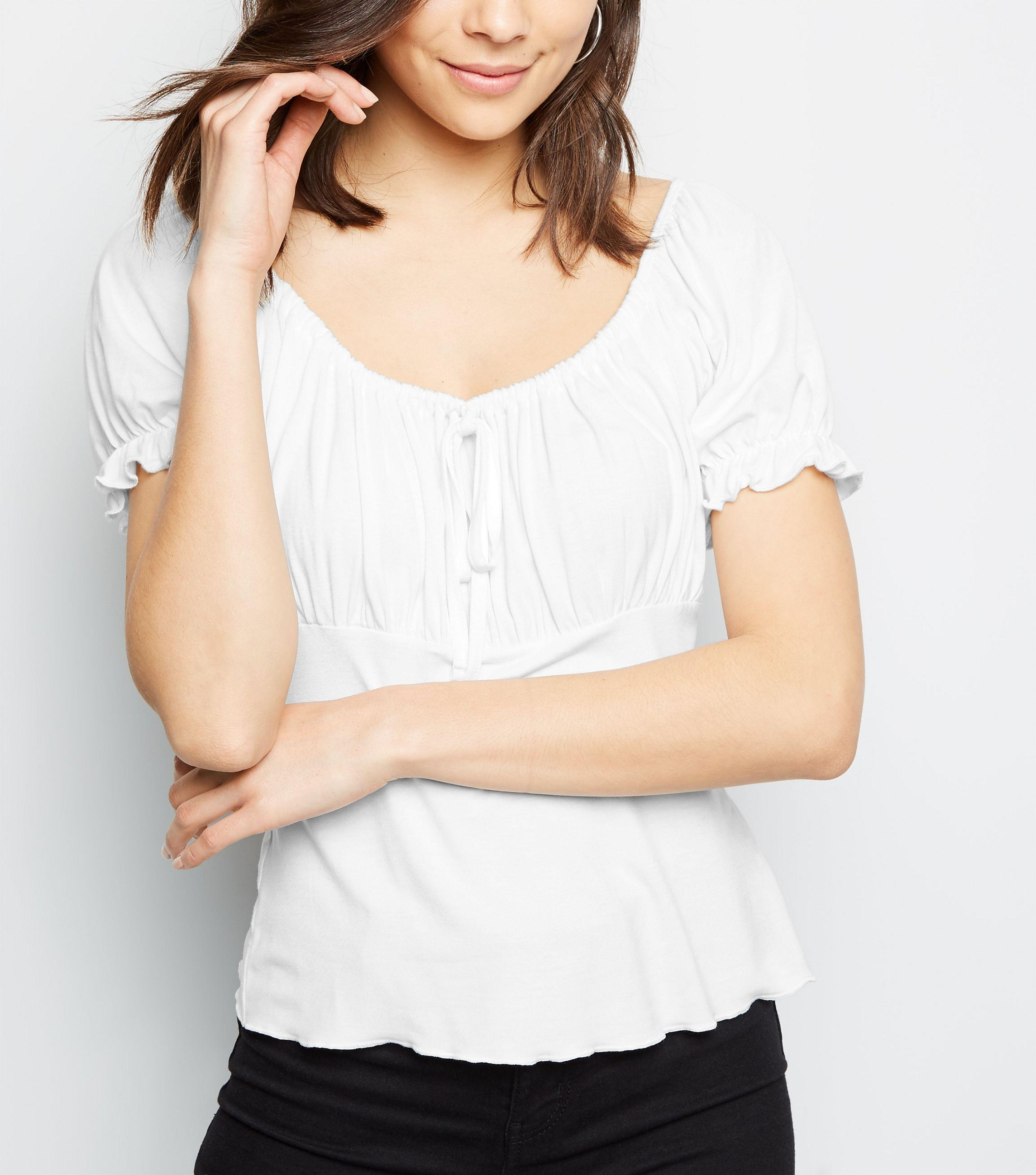 d2084b46001 New Look Off White Puff Sleeve Milkmaid Top in White - Lyst