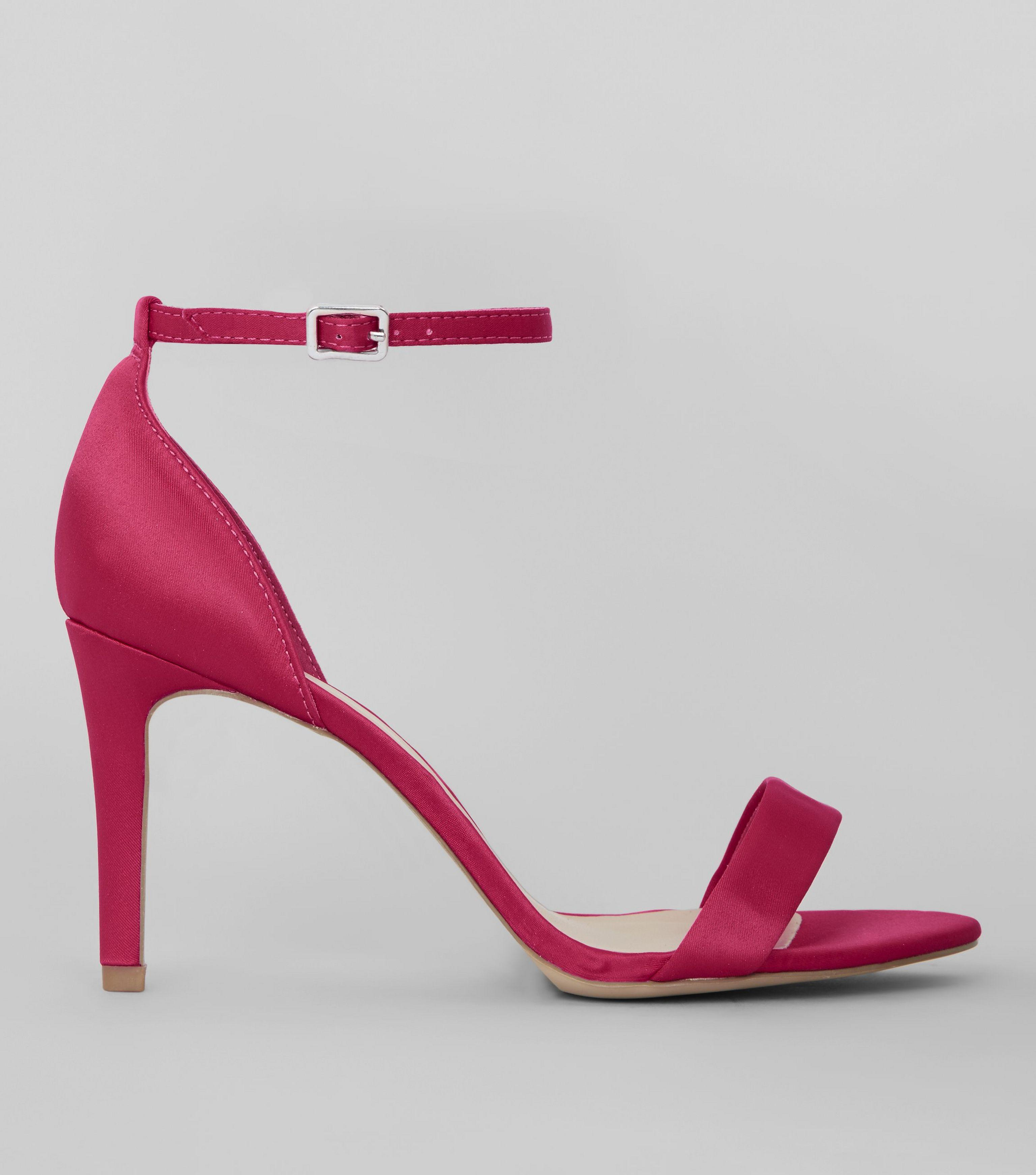 New Look Wide Fit Bright Pink Satin