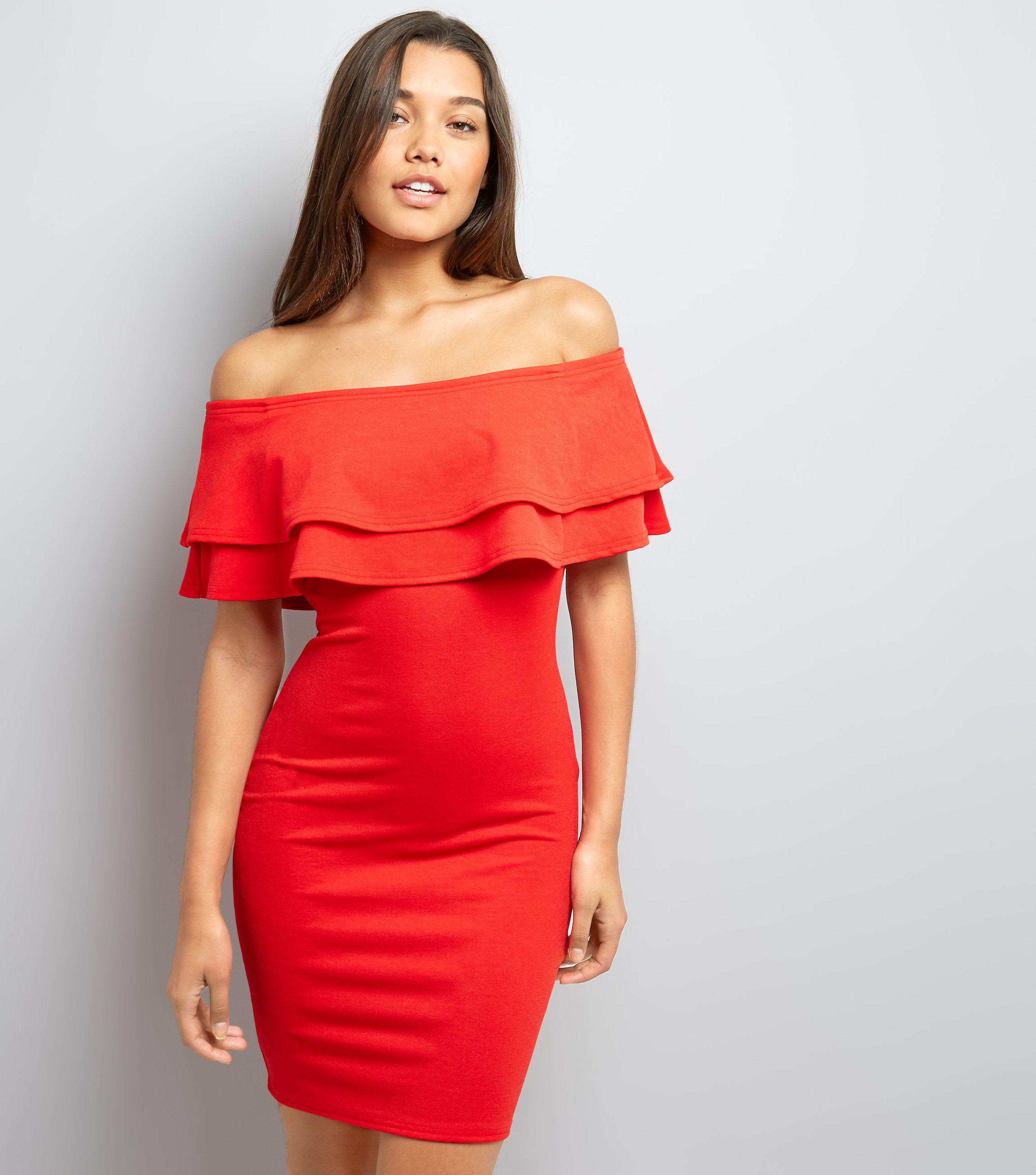 a308891736c0 New Look Tall Red Frill Trim Bardot Bodycon Dress in Red - Lyst